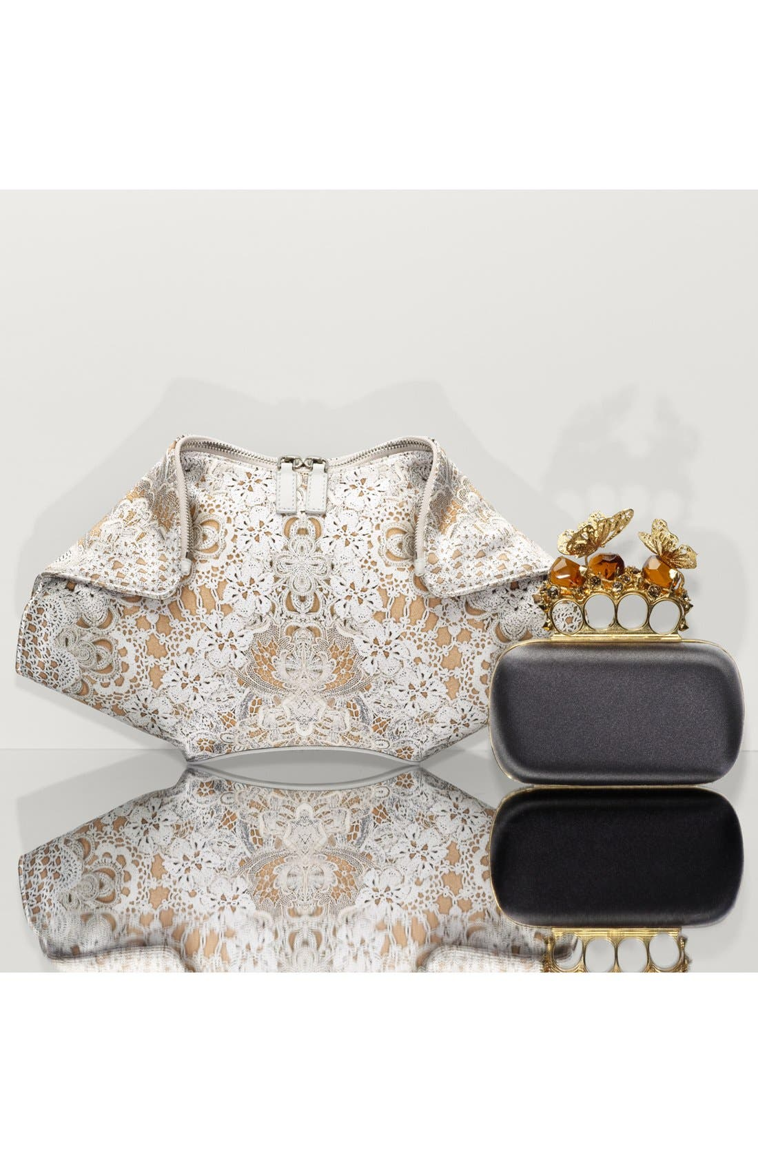 Alternate Image 2  - Alexander McQueen 'De Manta' Silk & Leather Clutch