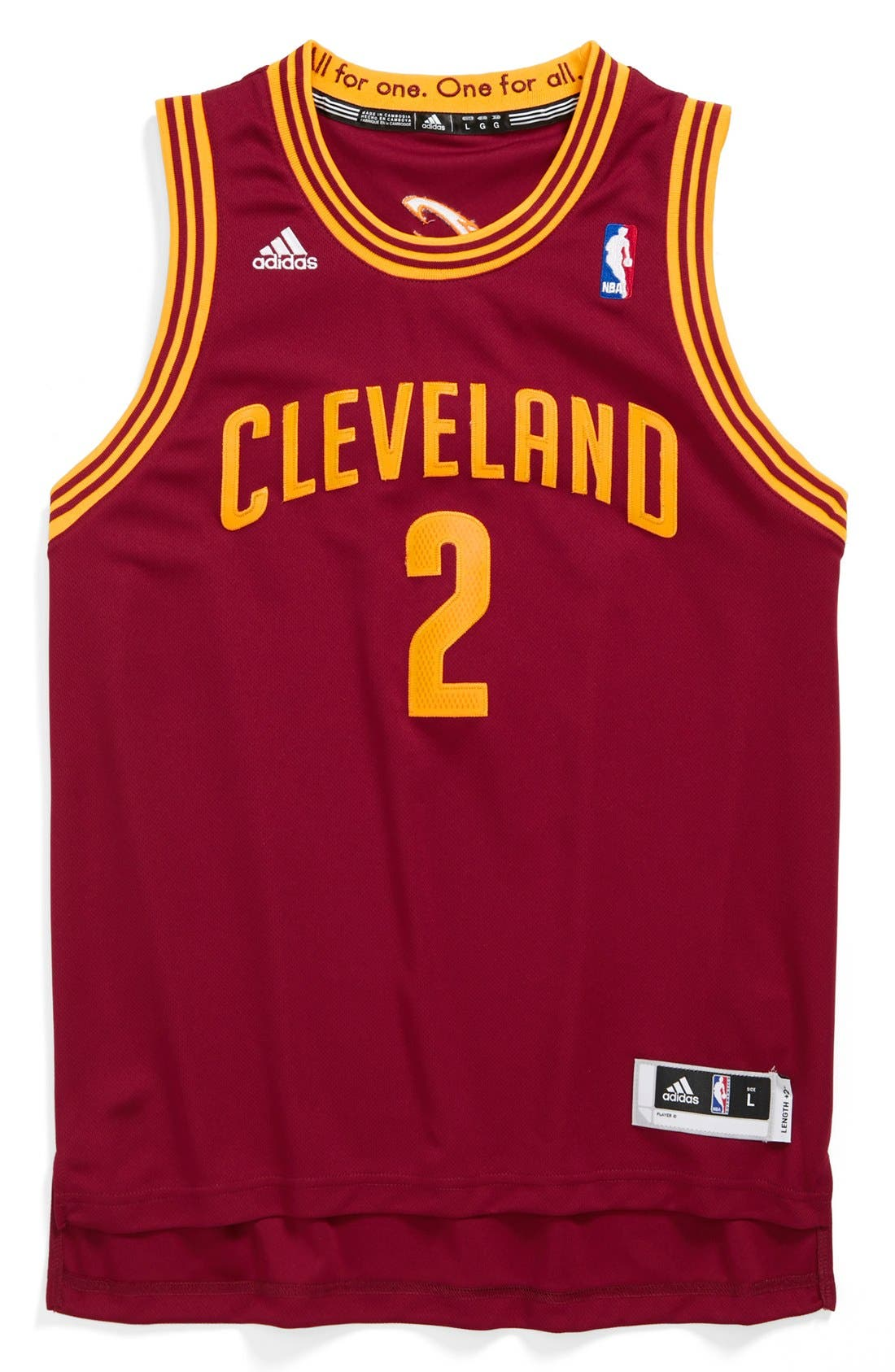 Alternate Image 1 Selected - adidas 'Cleveland Cavaliers, Kyrie Irving - Swingman Road' Jersey (Big Boys)