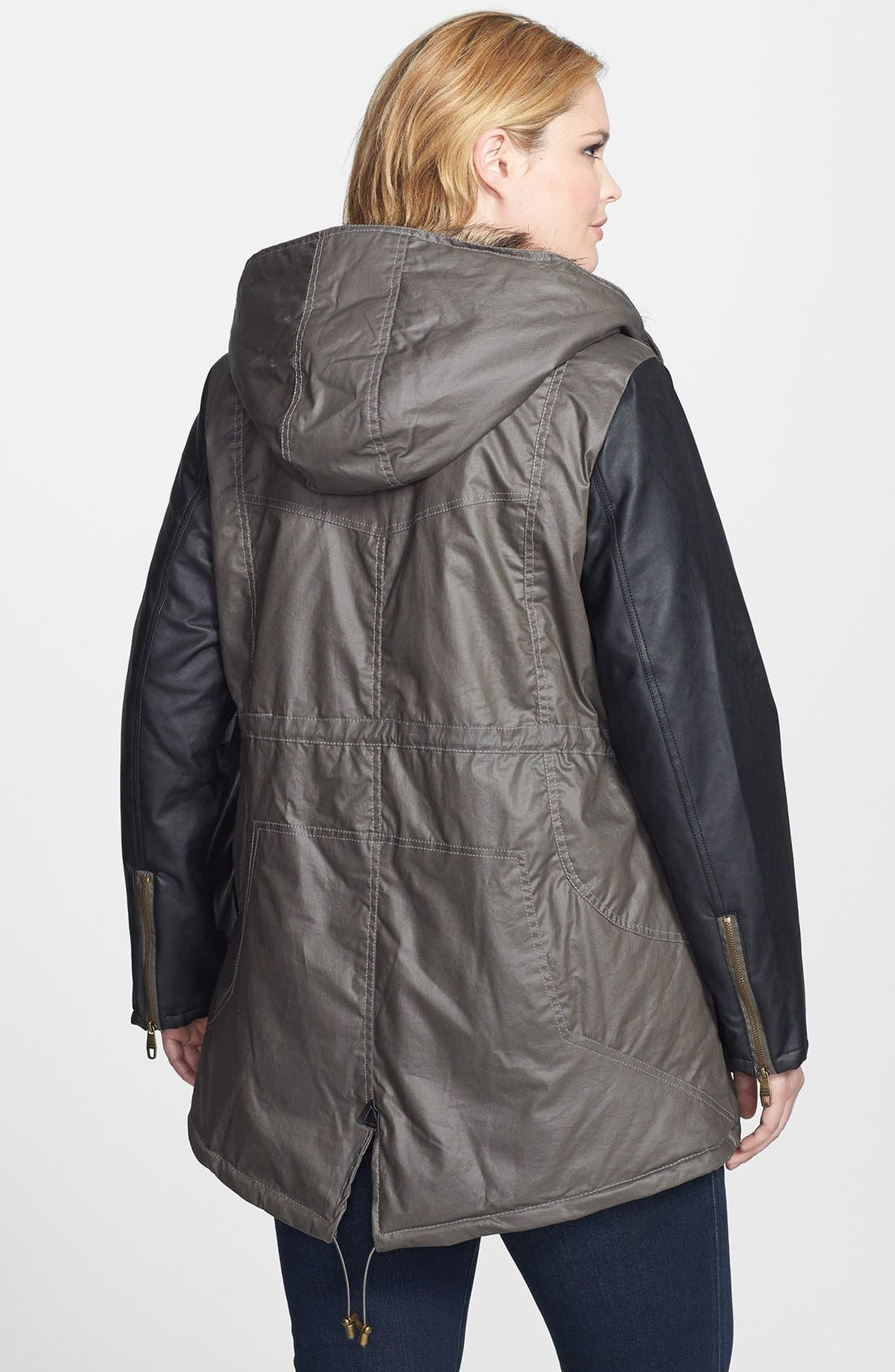 Alternate Image 2  - Steve Madden Faux Leather Sleeve Waxed Anorak (Plus Size)