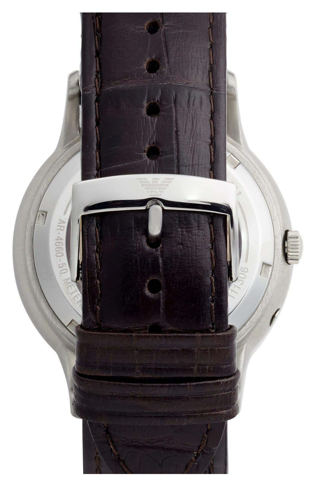 Alternate Image 2  - Emporio Armani Meccanico Automatic Leather Strap Watch, 43mm