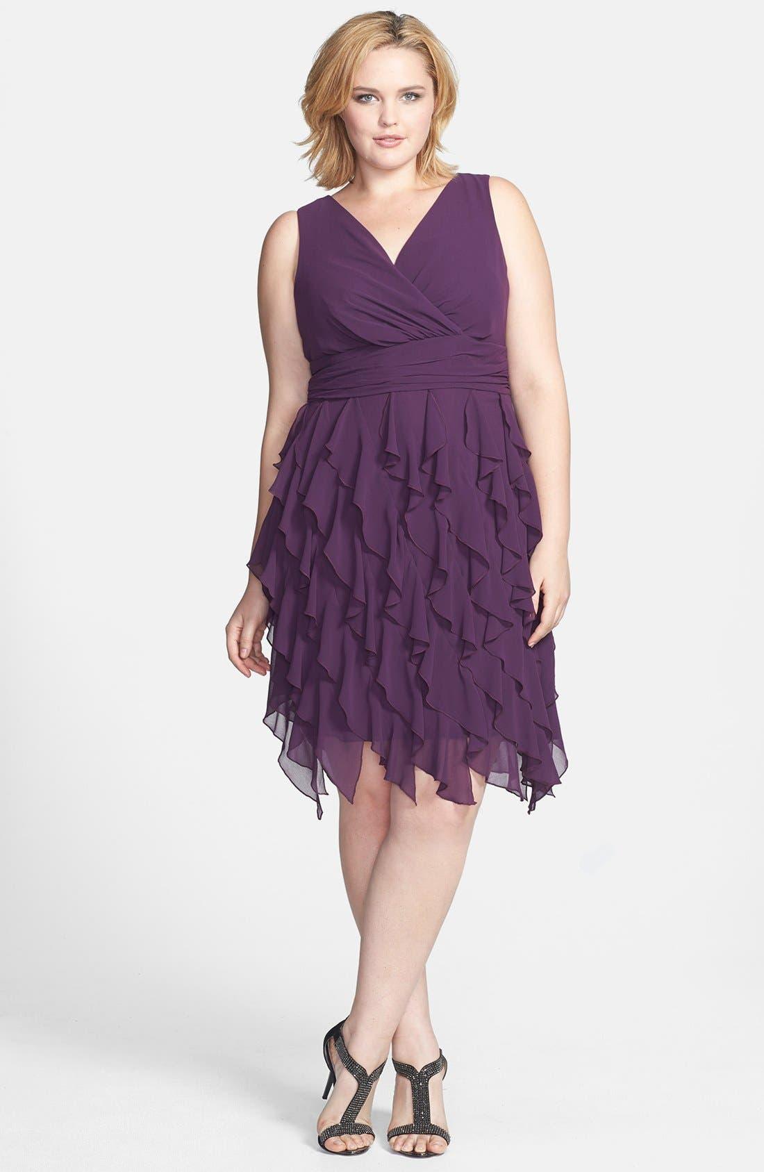 Alternate Image 1 Selected - Ivy & Blu V-Neck Ruffled Skirt Chiffon Dress (Plus Size)