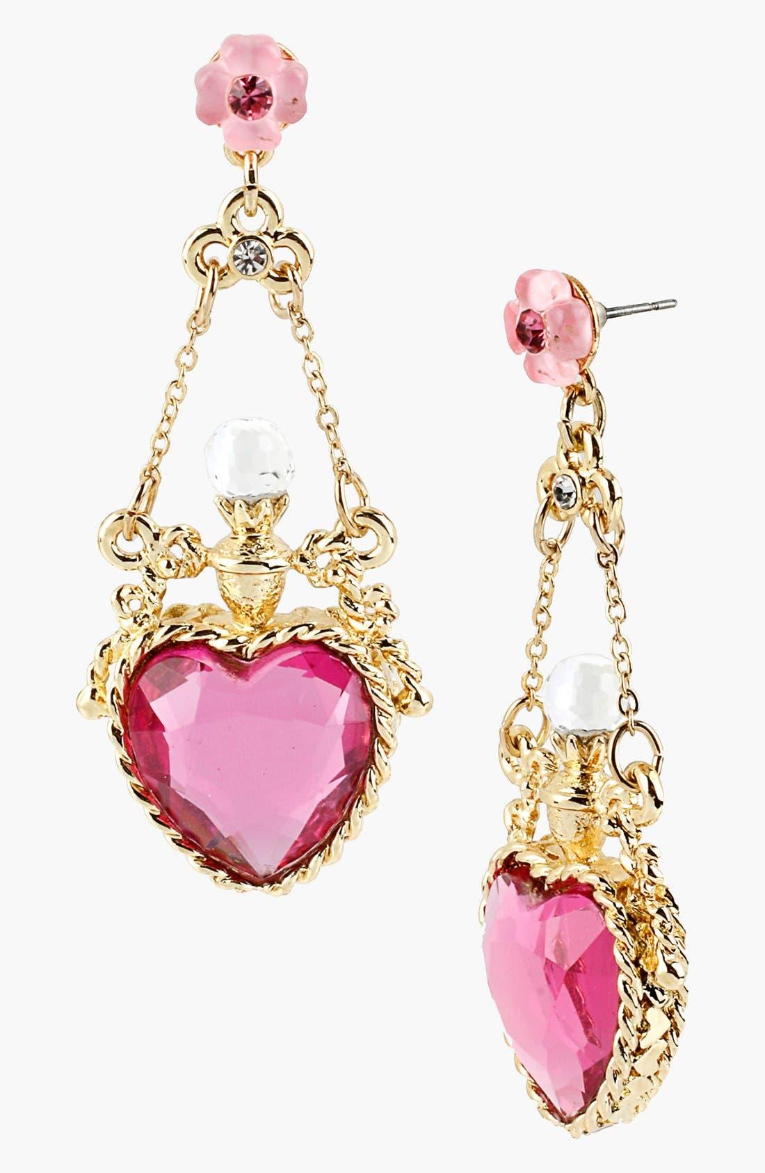 Main Image - Betsey Johnson 'Fairyland' Crystal Heart Drop Earrings
