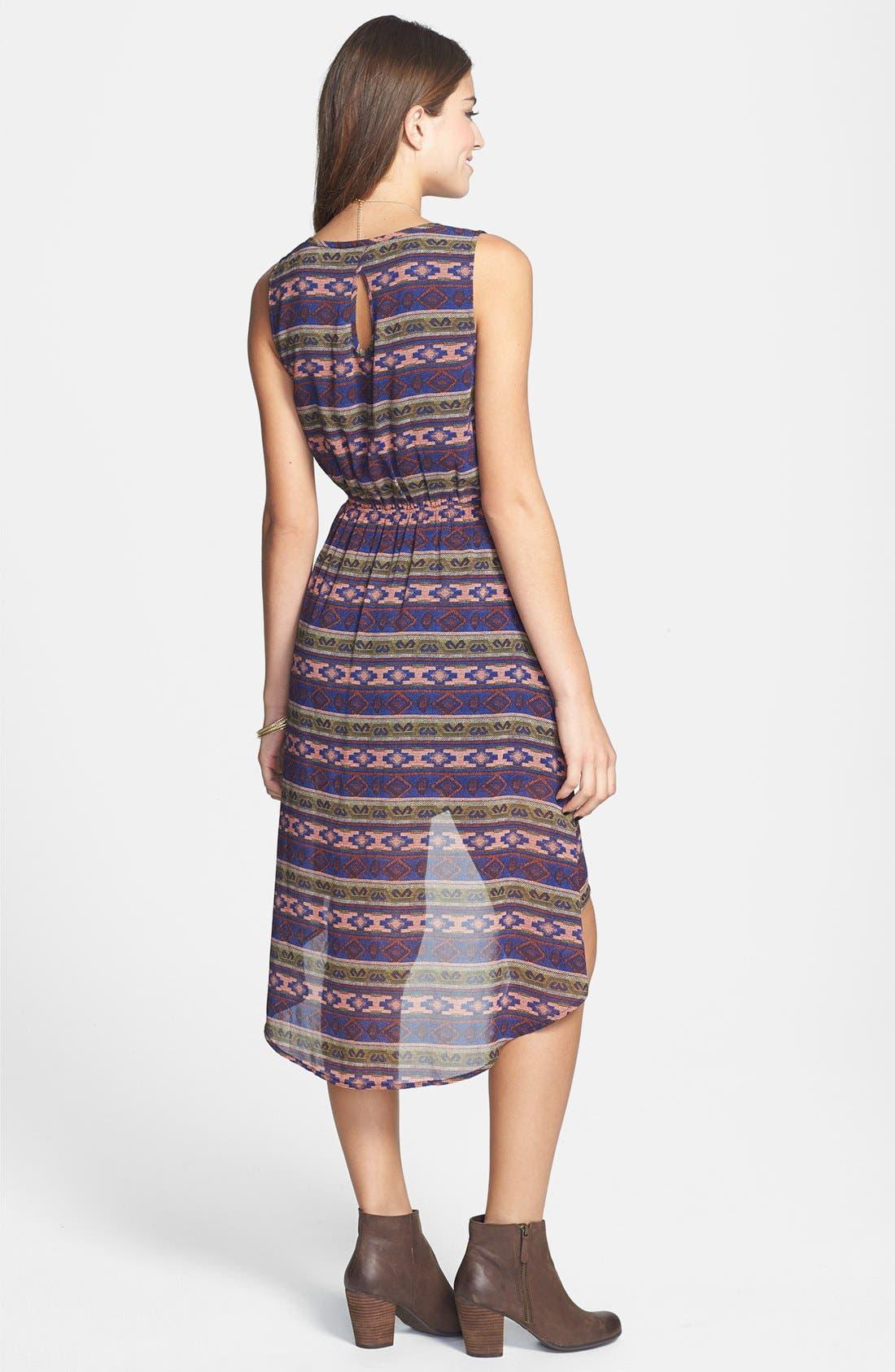 Alternate Image 2  - Blu Pepper Print High/Low Blouson Dress (Juniors)