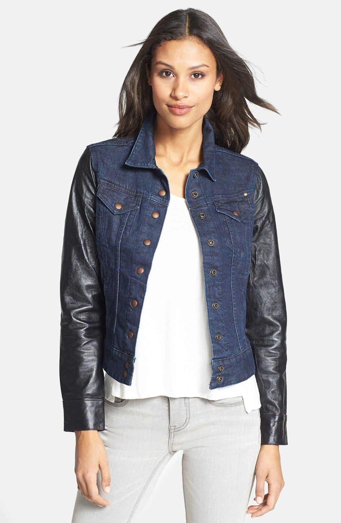 Alternate Image 1 Selected - Lucky Brand 'Sabrina' Leather Sleeve Denim Jacket