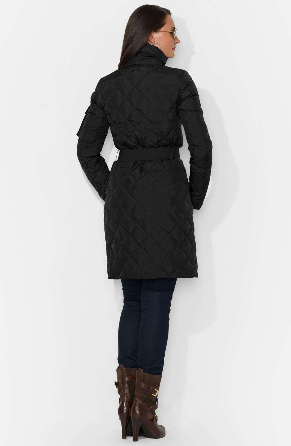Alternate Image 3  - Lauren Ralph Lauren Faux Fur Trim Belted Down Coat
