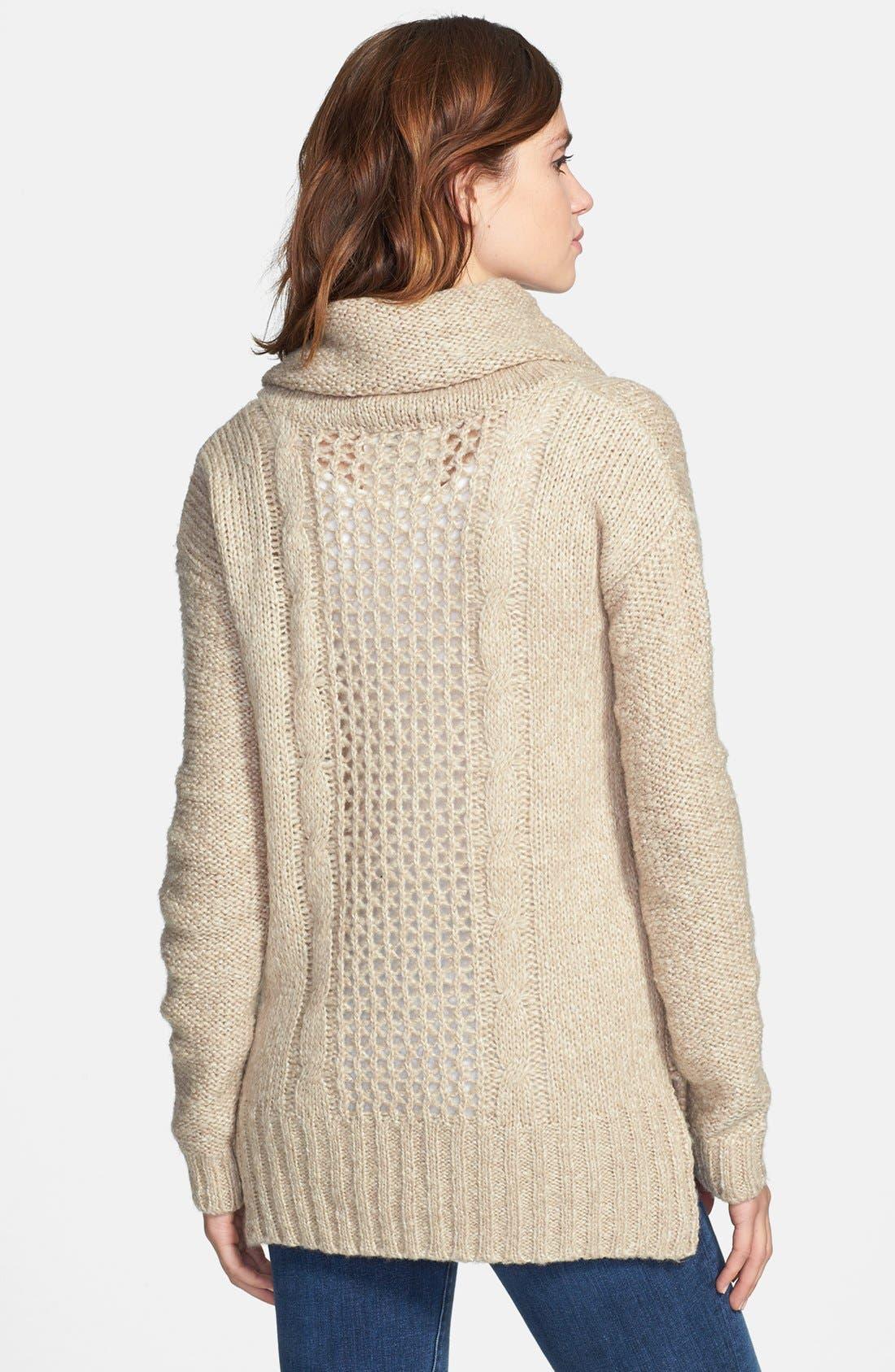 Alternate Image 2  - kensie Cowl Neck Open Stitch Sweater