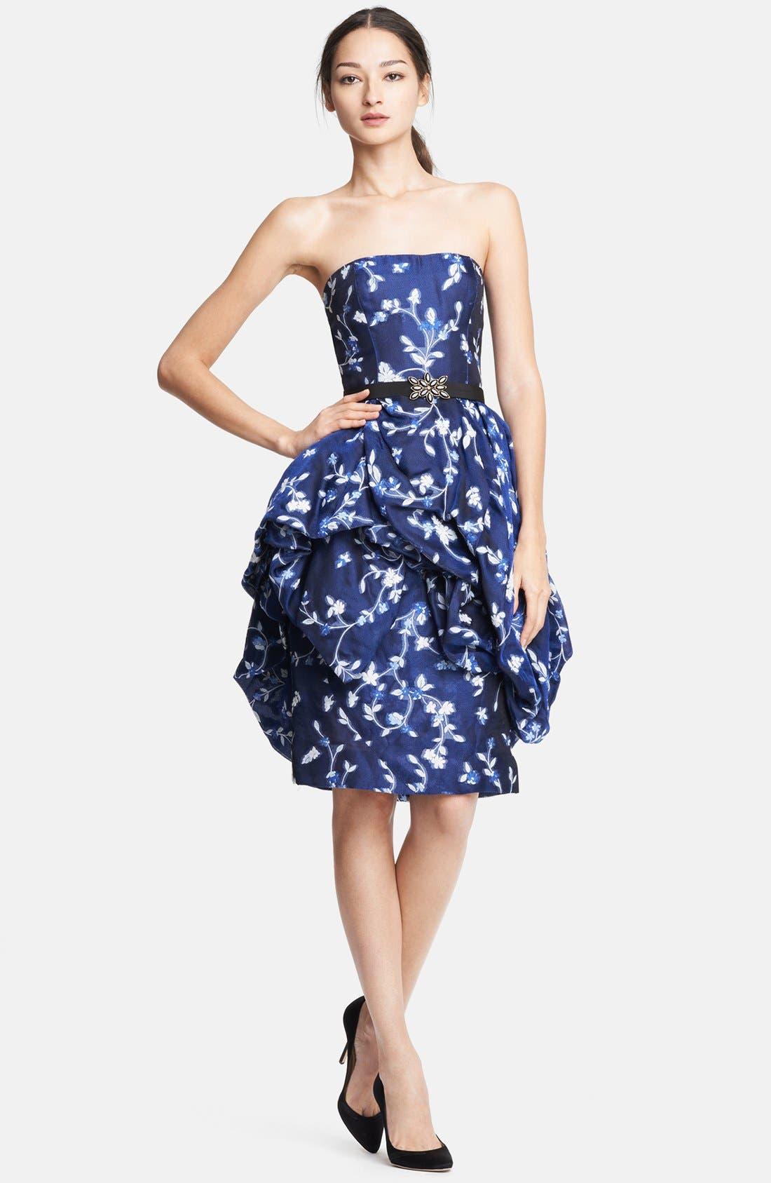Alternate Image 1 Selected - Oscar de la Renta Floral Fil Coupe Gazar Bubble Dress