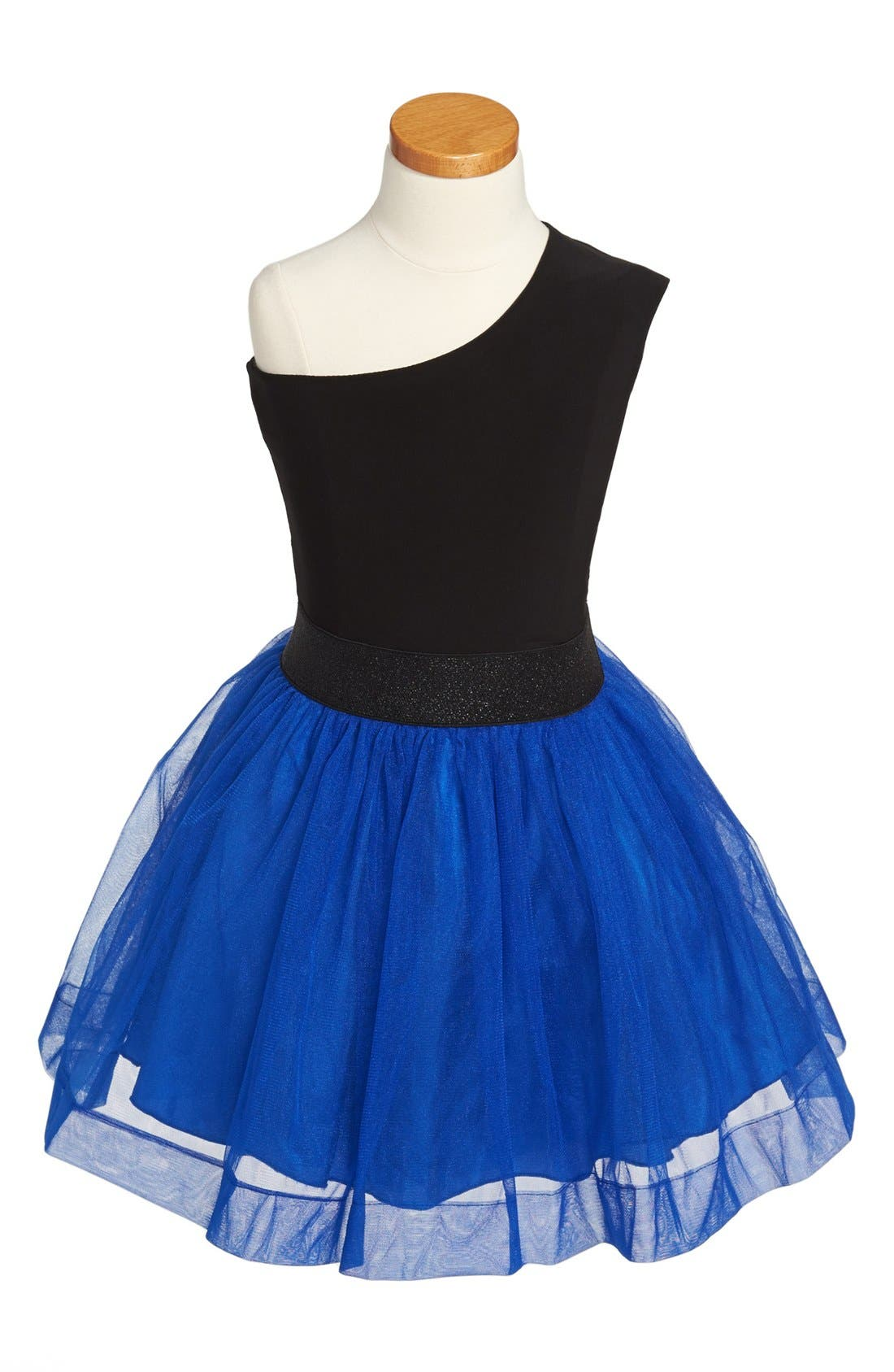 Alternate Image 1 Selected - Un Deux Trois One-Shoulder Tulle Dress (Big Girls)