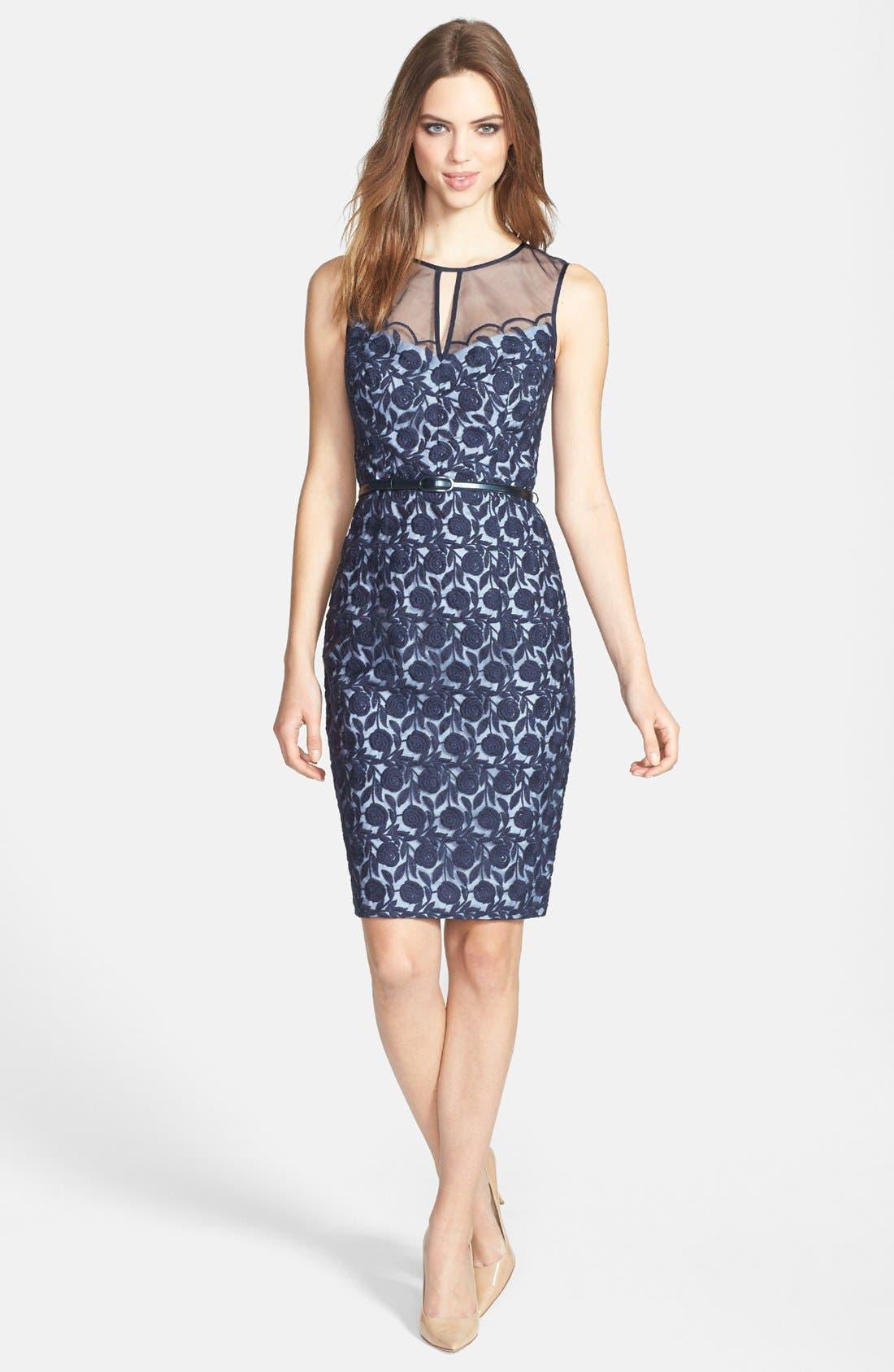 Main Image - Maggy London Organza Belted Sheath Dress (Regular & Petite)