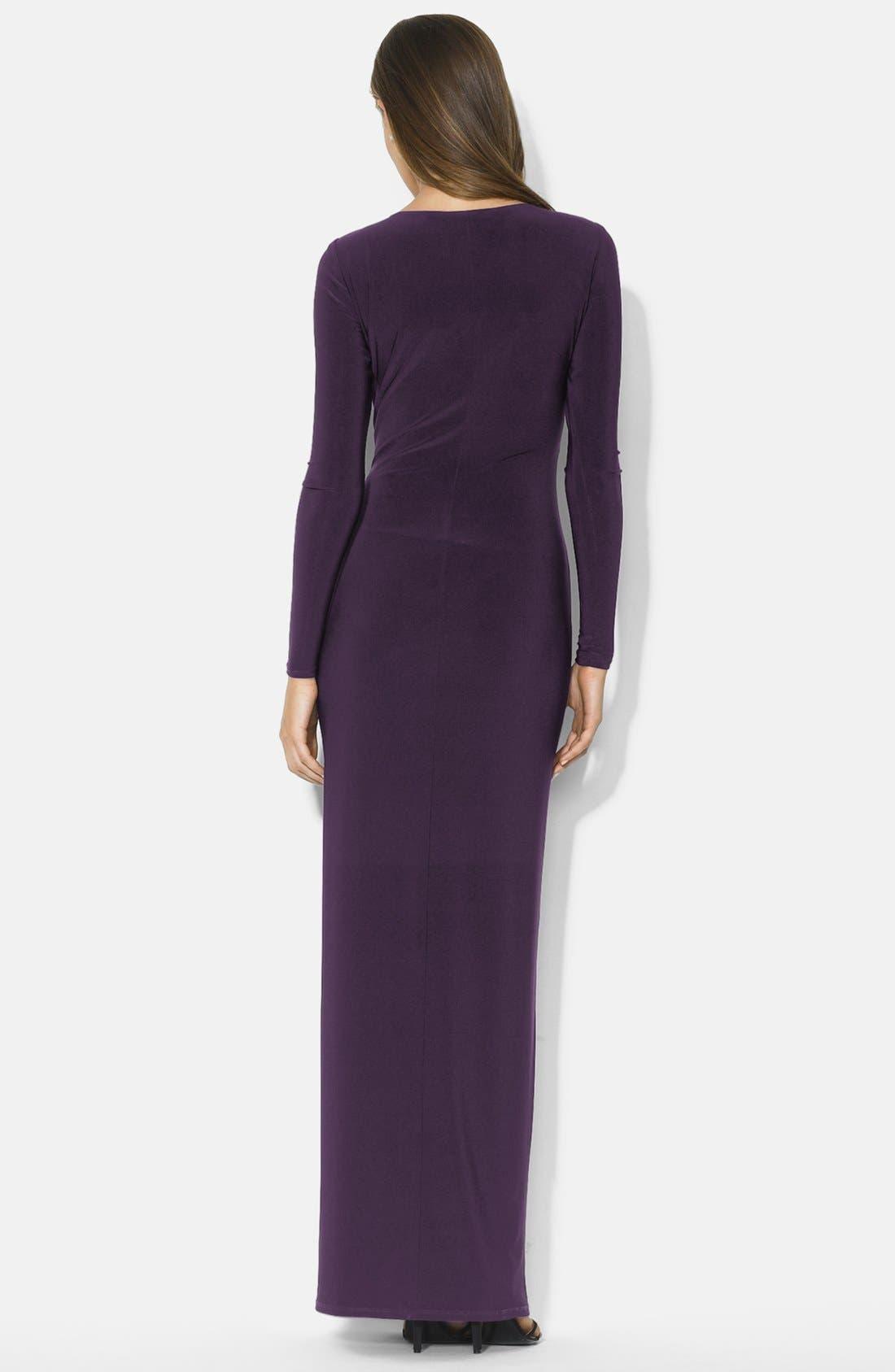 Alternate Image 2  - Lauren Ralph Lauren Long Faux Wrap Matte Jersey Dress (Regular & Petite)