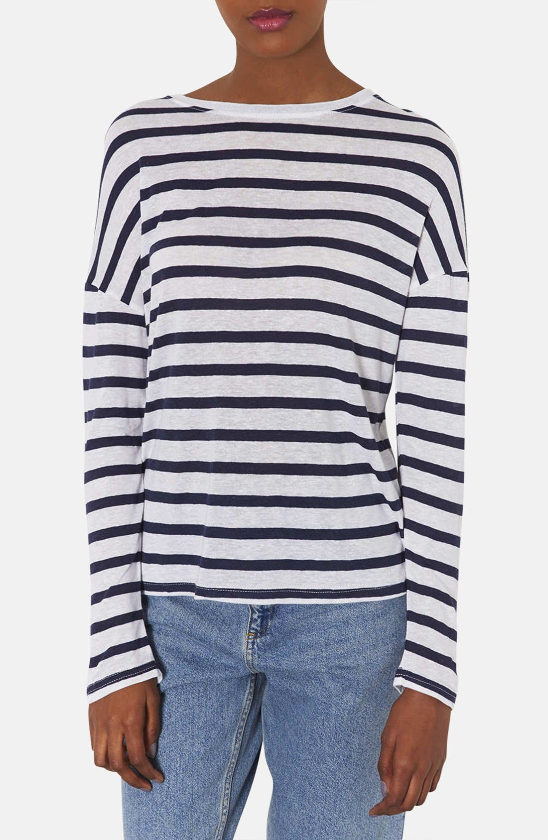 Alternate Image 1 Selected - Topshop Breton Stripe Linen Blend Tee