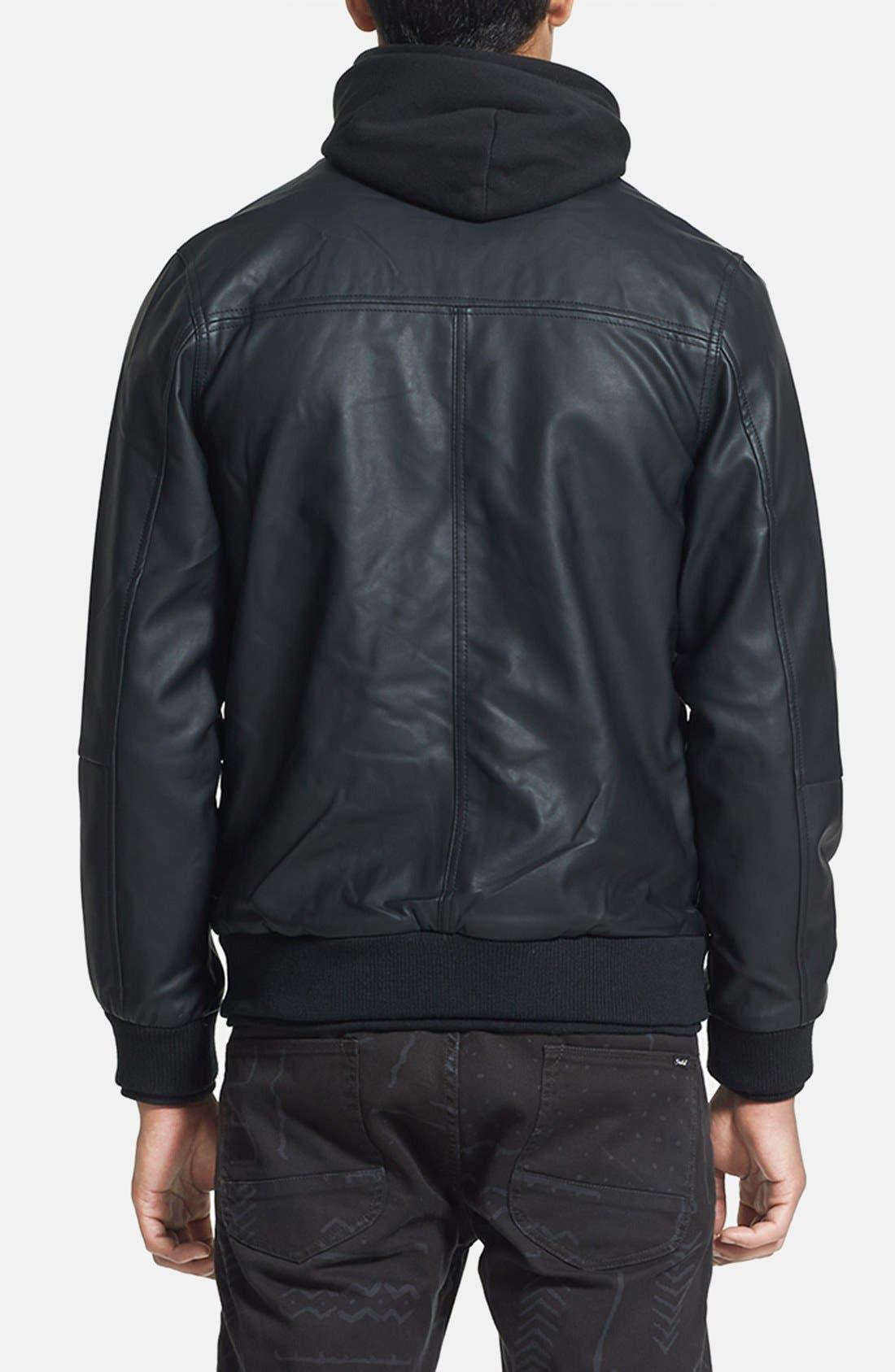 Alternate Image 2  - Obey 'Rapture' Hooded Faux Leather Bomber Jacket