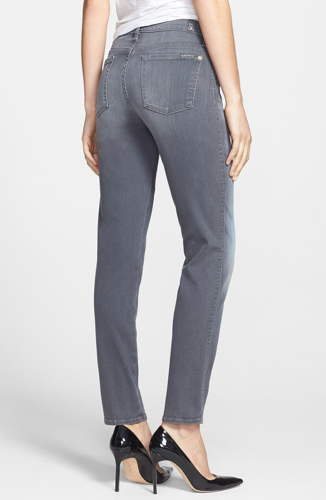 Alternate Image 2  - 7 For All Mankind® Slim Straight Leg Jeans (Grey Sateen)