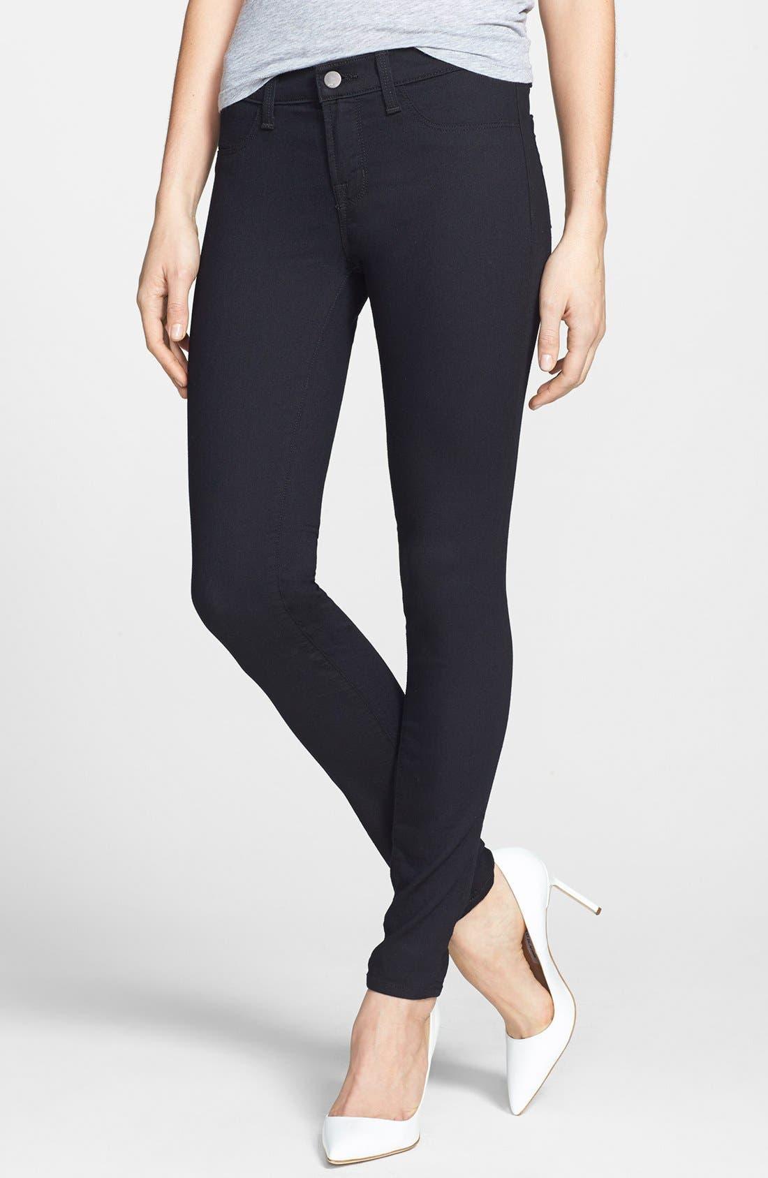 Main Image - J Brand Super Skinny Jeans (Pitch Black)
