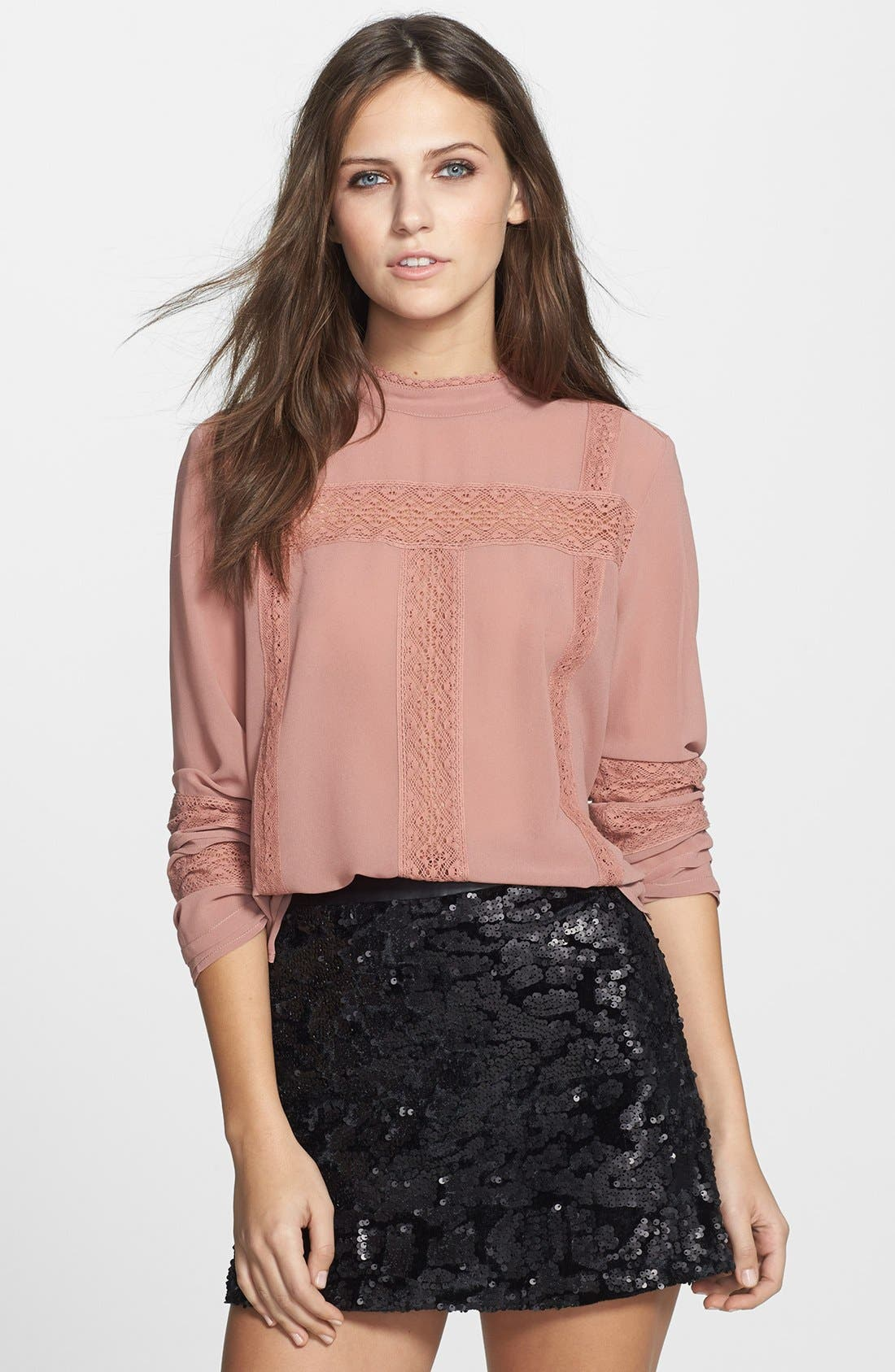 Alternate Image 1 Selected - Leith Victorian Lace Trim Chiffon Blouse
