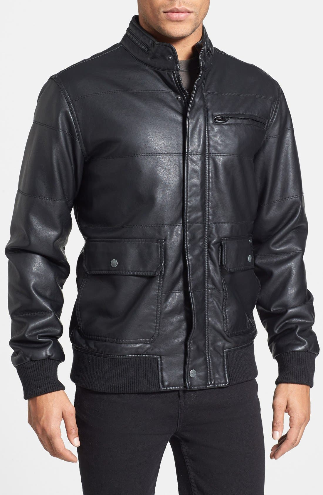 Alternate Image 1 Selected - RVCA 'Vimy' Faux Leather Jacket