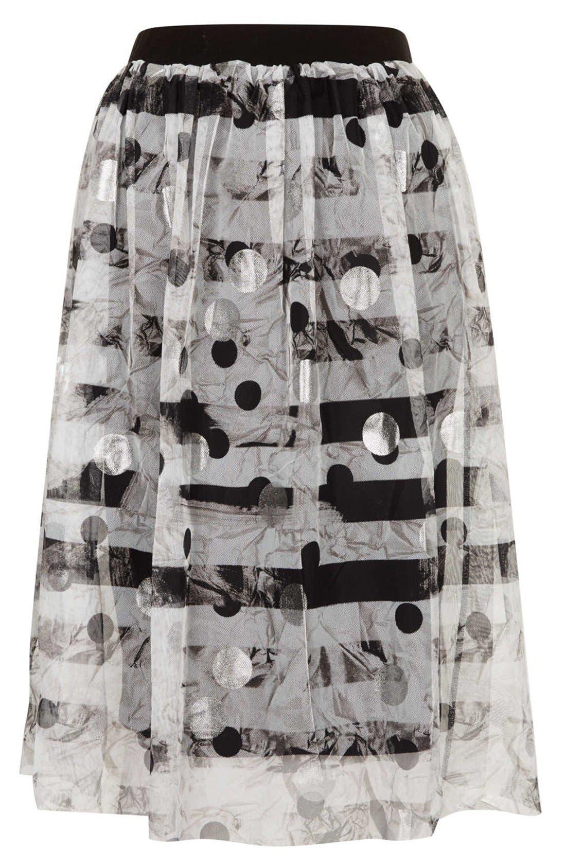 Alternate Image 3  - Topshop Metallic Pattern Tulle Midi Skirt