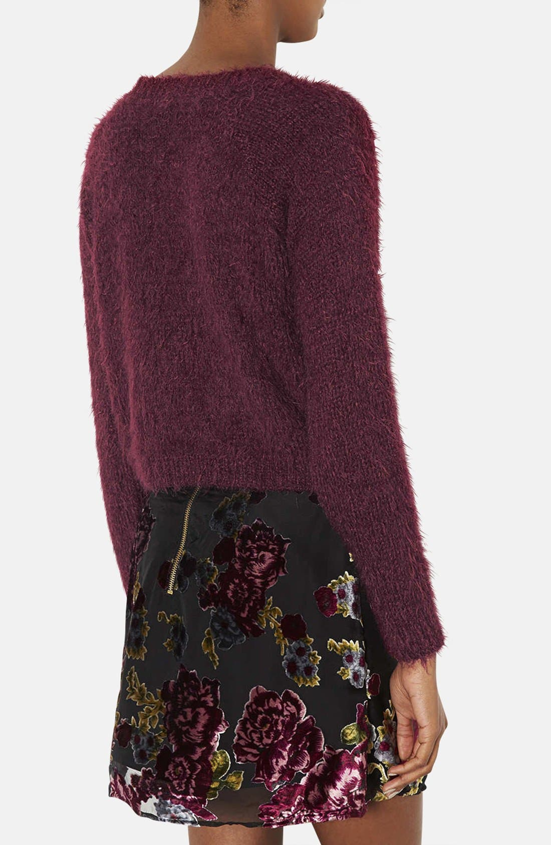 Alternate Image 2  - Topshop 'Monster Rib' Textured Crewneck Crop Sweater