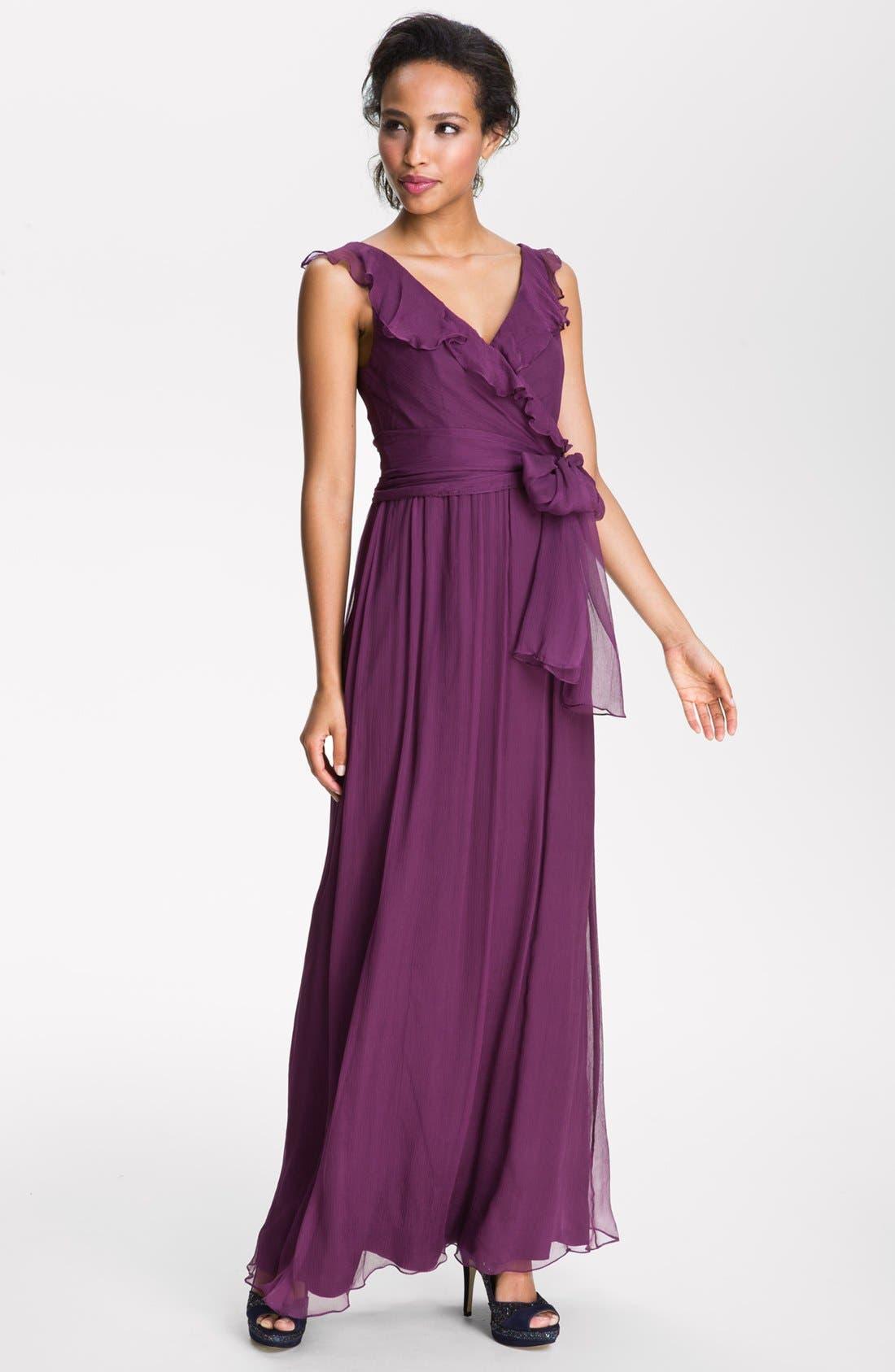 Alternate Image 1  - Amsale Ruffle Silk Chiffon Gown