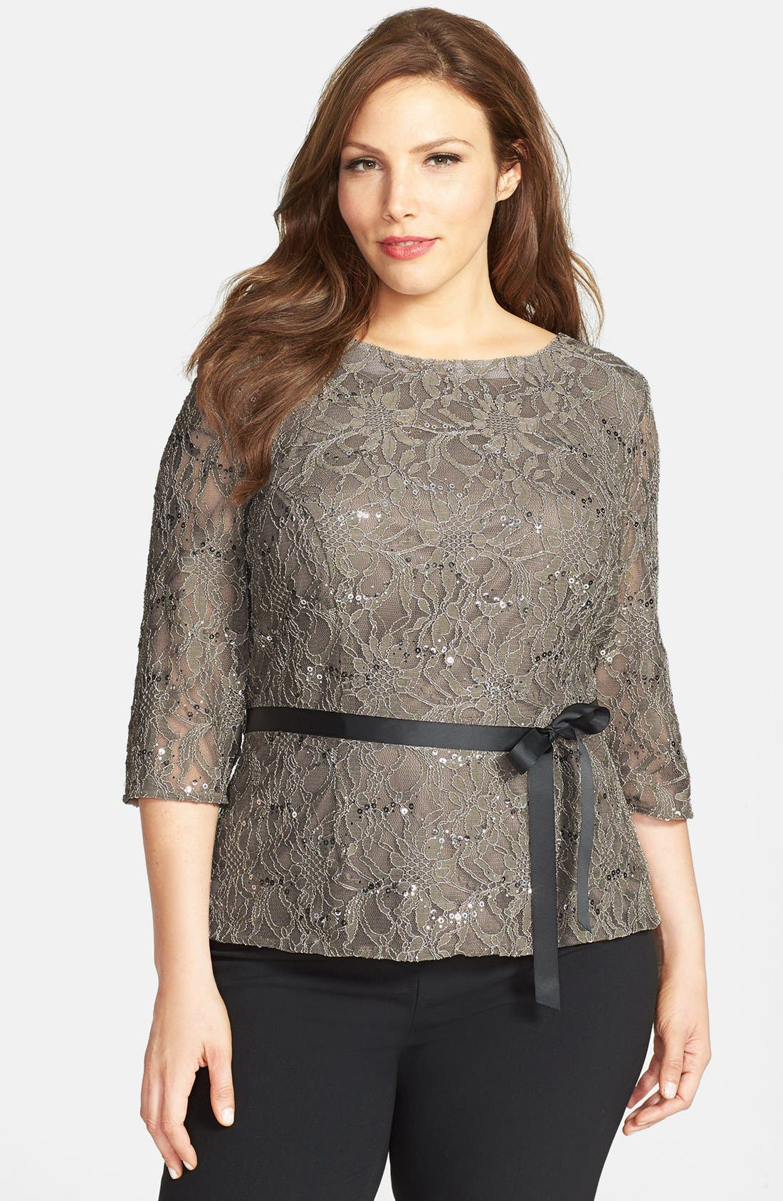 Alternate Image 1 Selected - Alex Evenings Belted Lace Blouse (Plus Size)