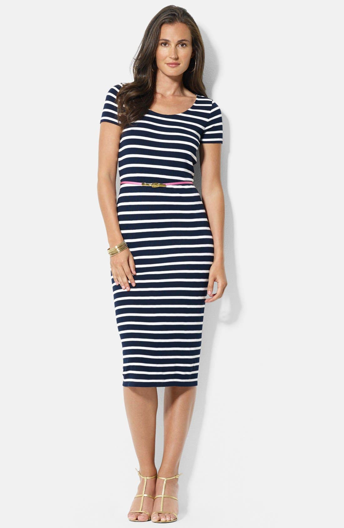 Main Image - Lauren Ralph Lauren Stripe Knit Dress (Petite)