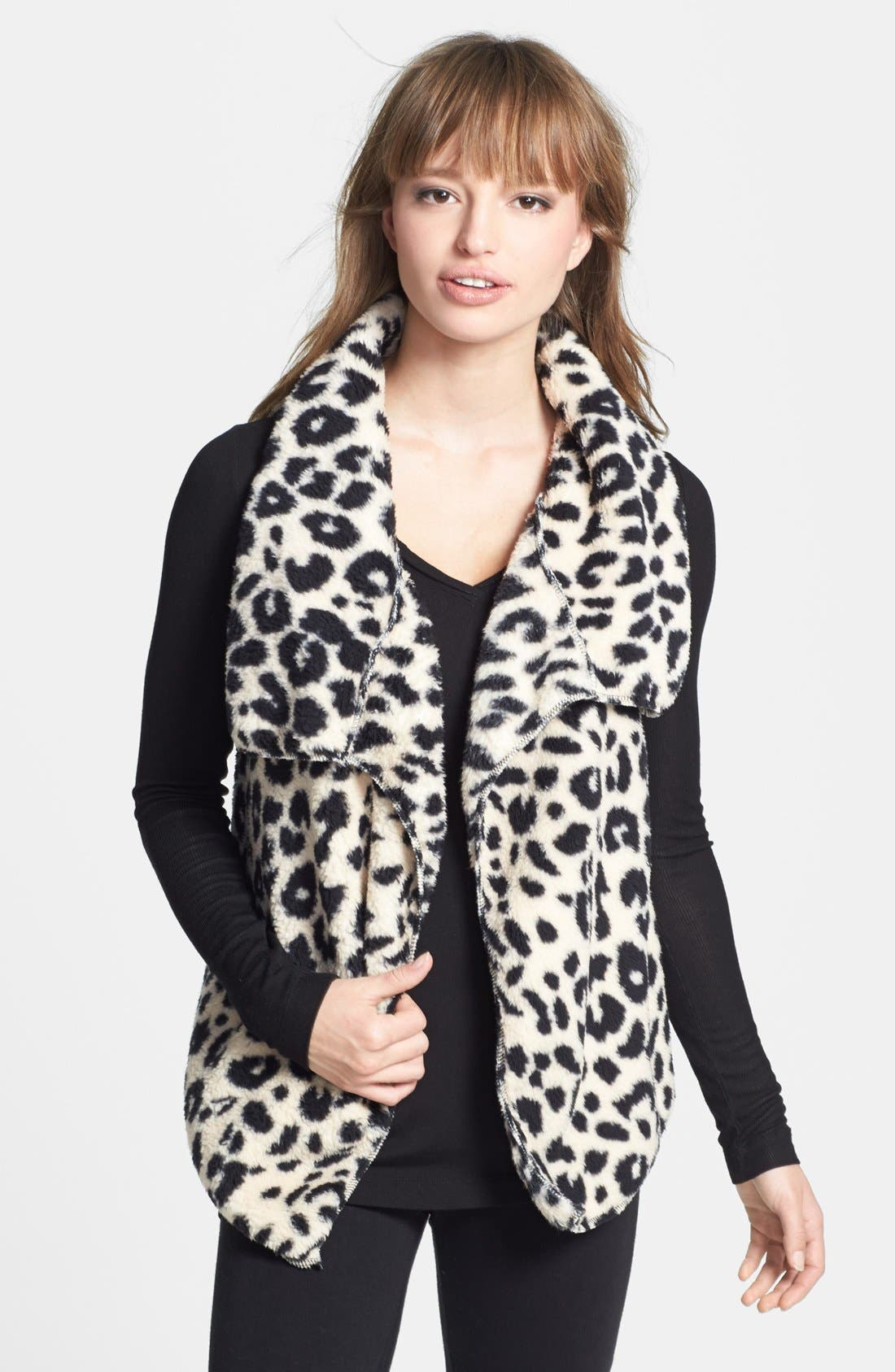 Main Image - PJ Salvage 'Cozy' Plush Leopard Vest
