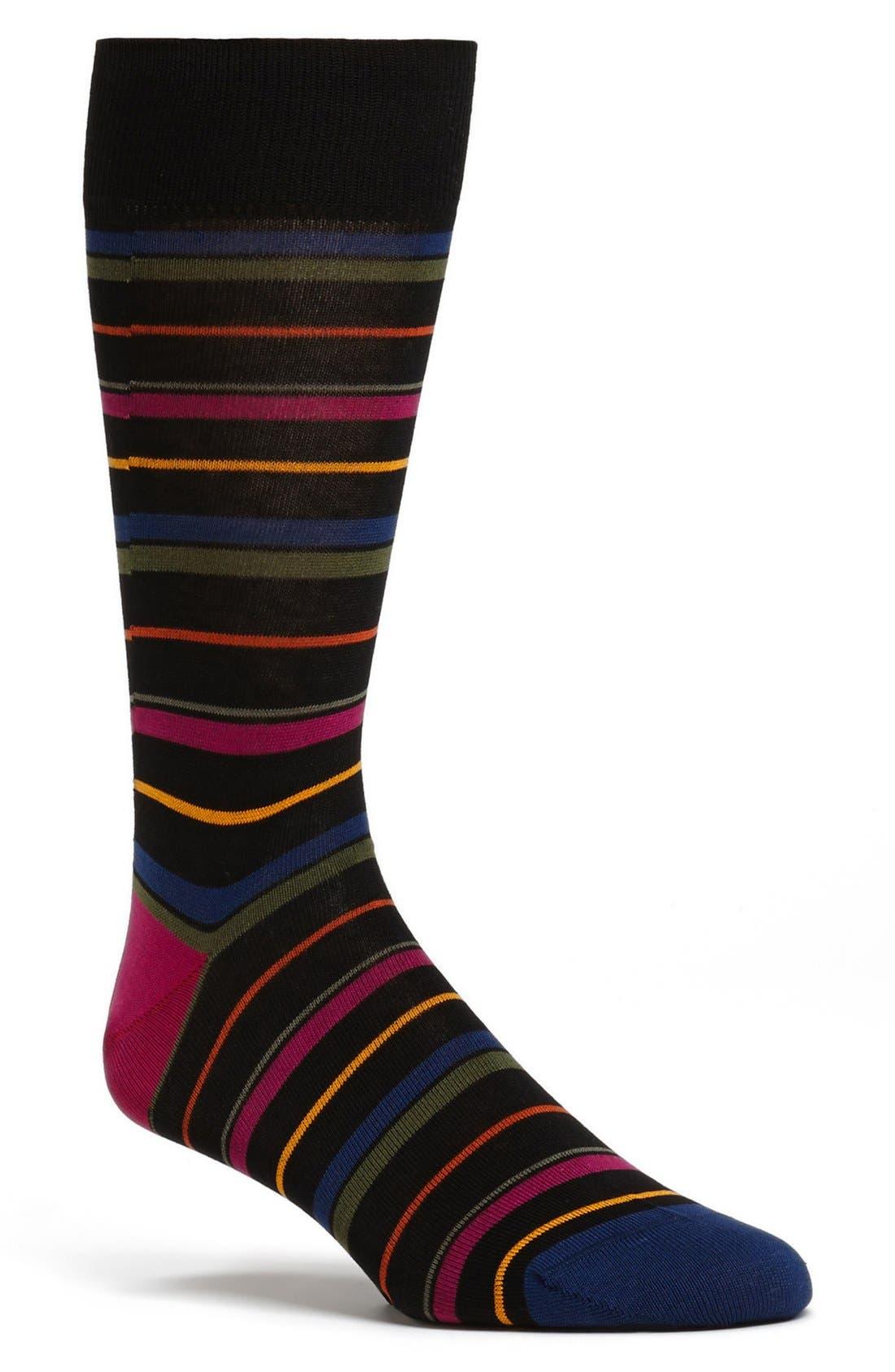 Alternate Image 1 Selected - Bugatchi Stripe Mercerized Cotton Blend Socks