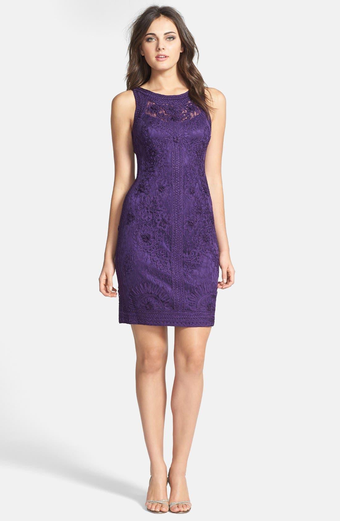 Alternate Image 1 Selected - Sue Wong Illusion Bodice Lace Sheath Dress