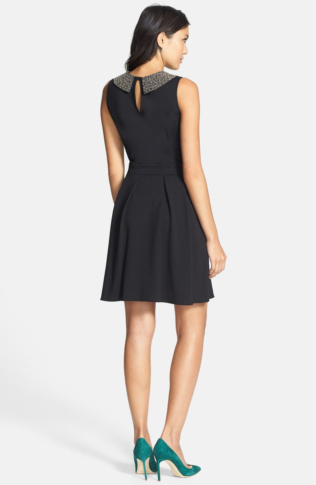 Alternate Image 2  - Collective Concepts Beaded Collar Fit & Flare Dress