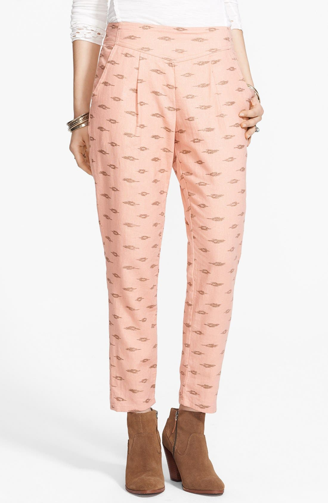 Alternate Image 1 Selected - Free People 'Easy Pleat' Print Linen Blend Pants