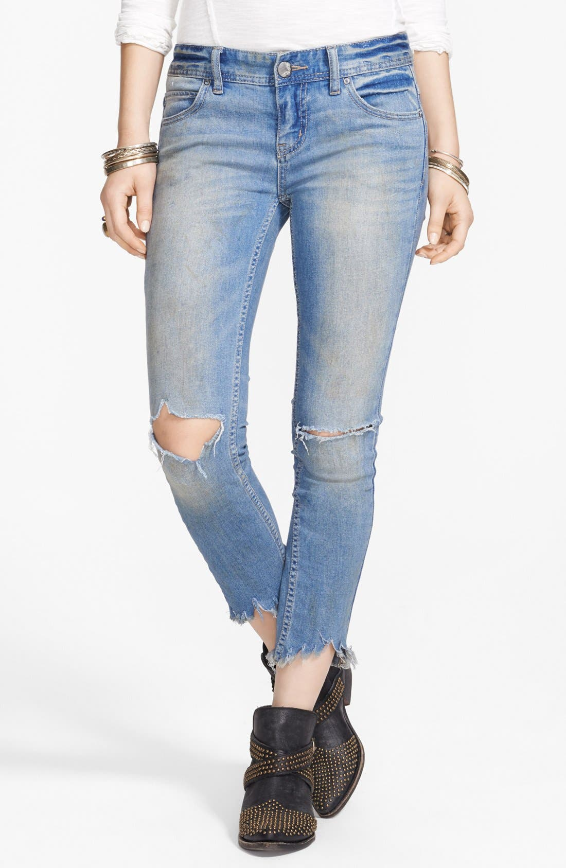 Alternate Image 1 Selected - Free People Destroyed Skinny Ankle Jeans (Engineered Wash)