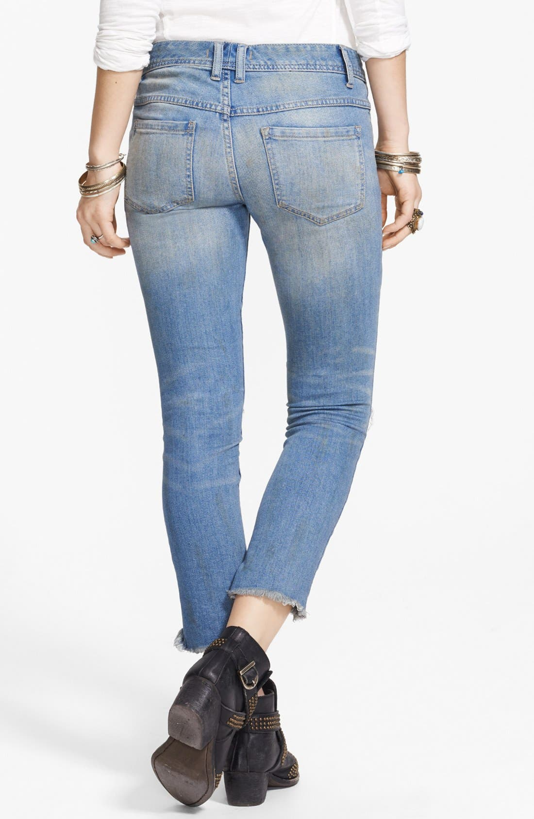 Alternate Image 2  - Free People Destroyed Skinny Ankle Jeans (Engineered Wash)
