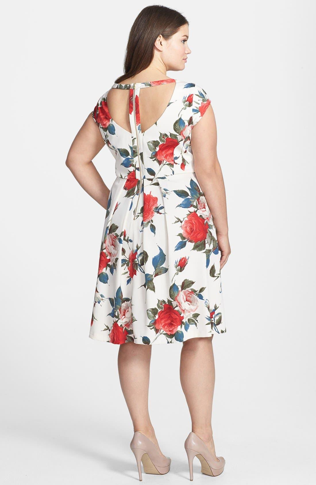 Alternate Image 2  - ABS by Allen Schwartz Vintage Floral Print Fit & Flare Dress (Plus Size)