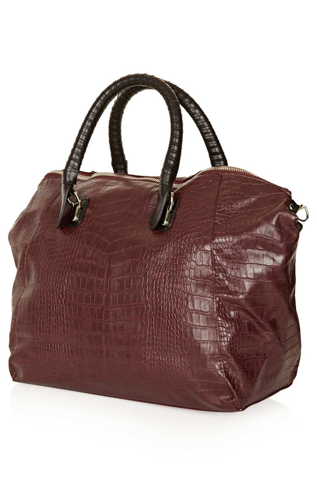 Alternate Image 4  - Topshop Croc Embossed Satchel