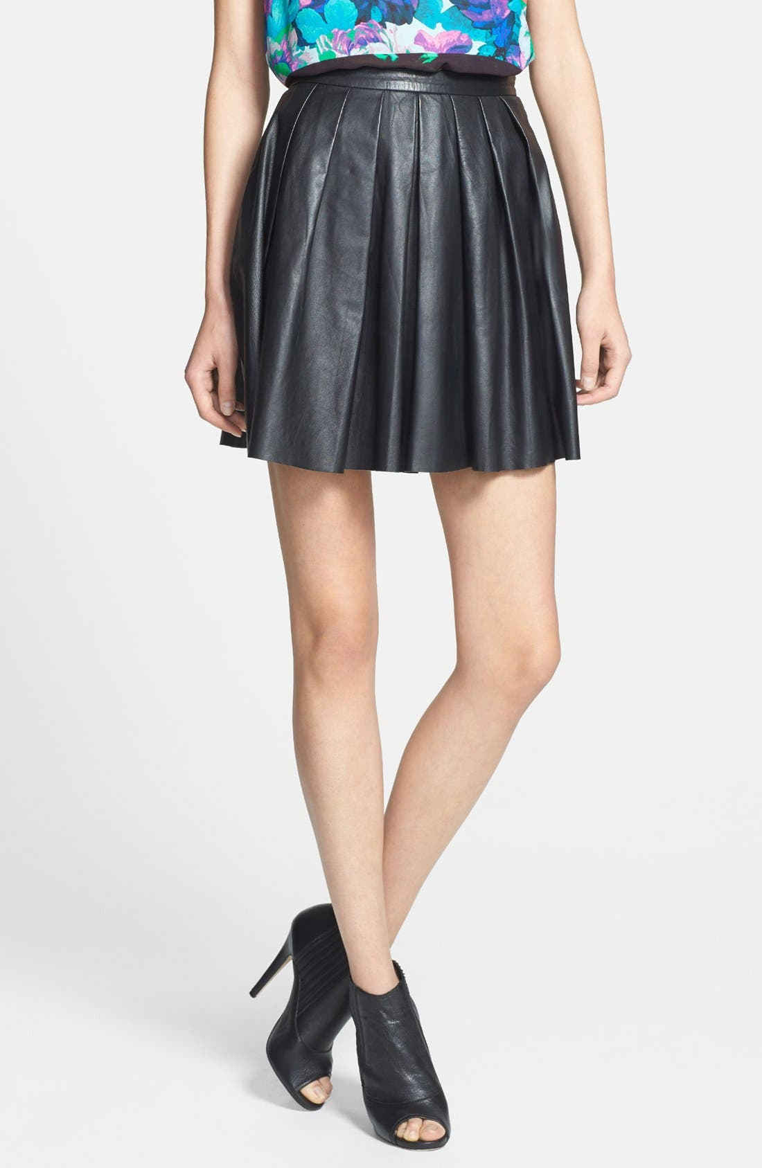 Main Image - Nicole Miller Leather Pleat Flared Skirt
