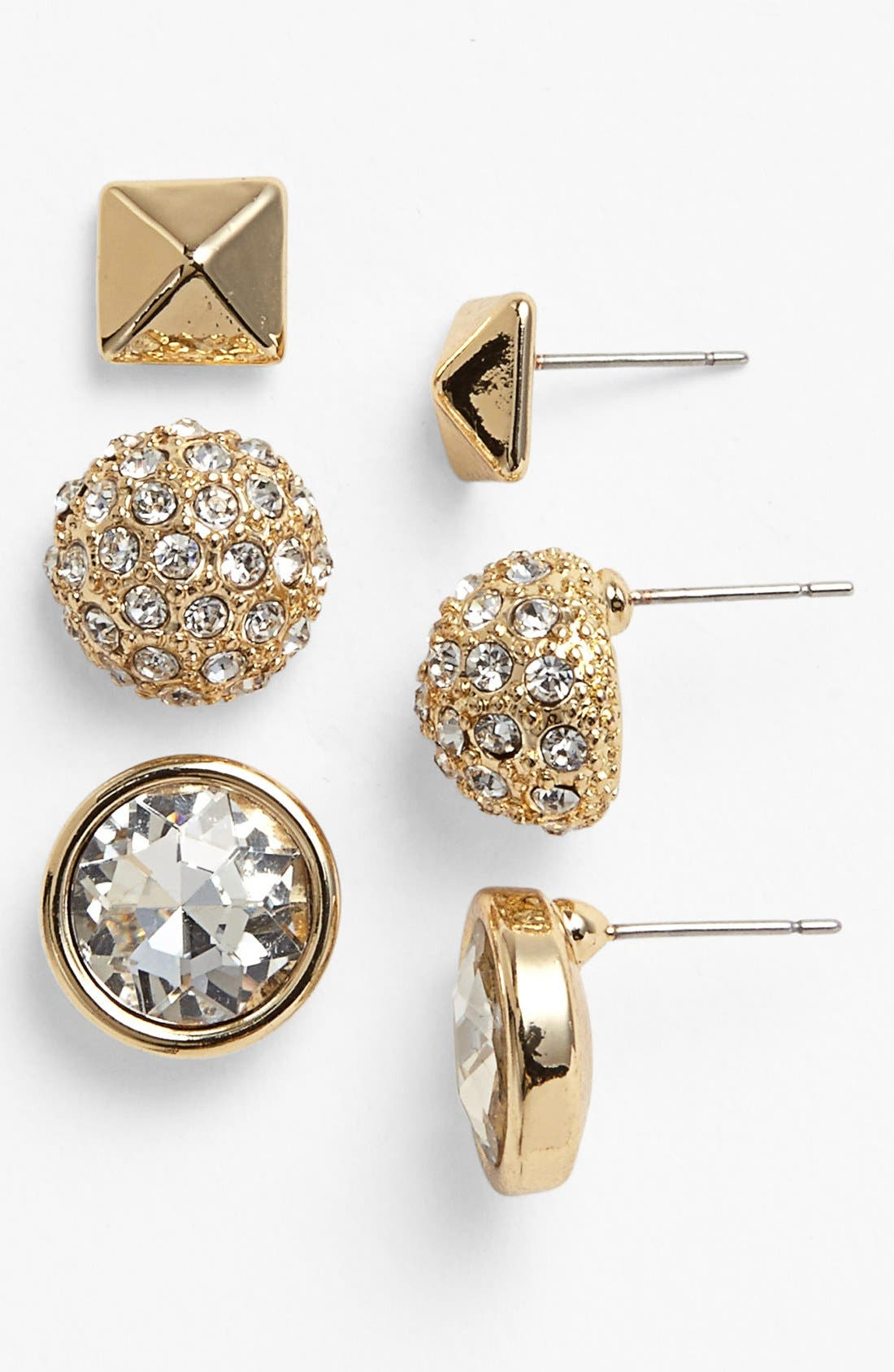 Main Image - Lydell NYC 'Preppy' Boxed Stud Earrings (Set of 3)