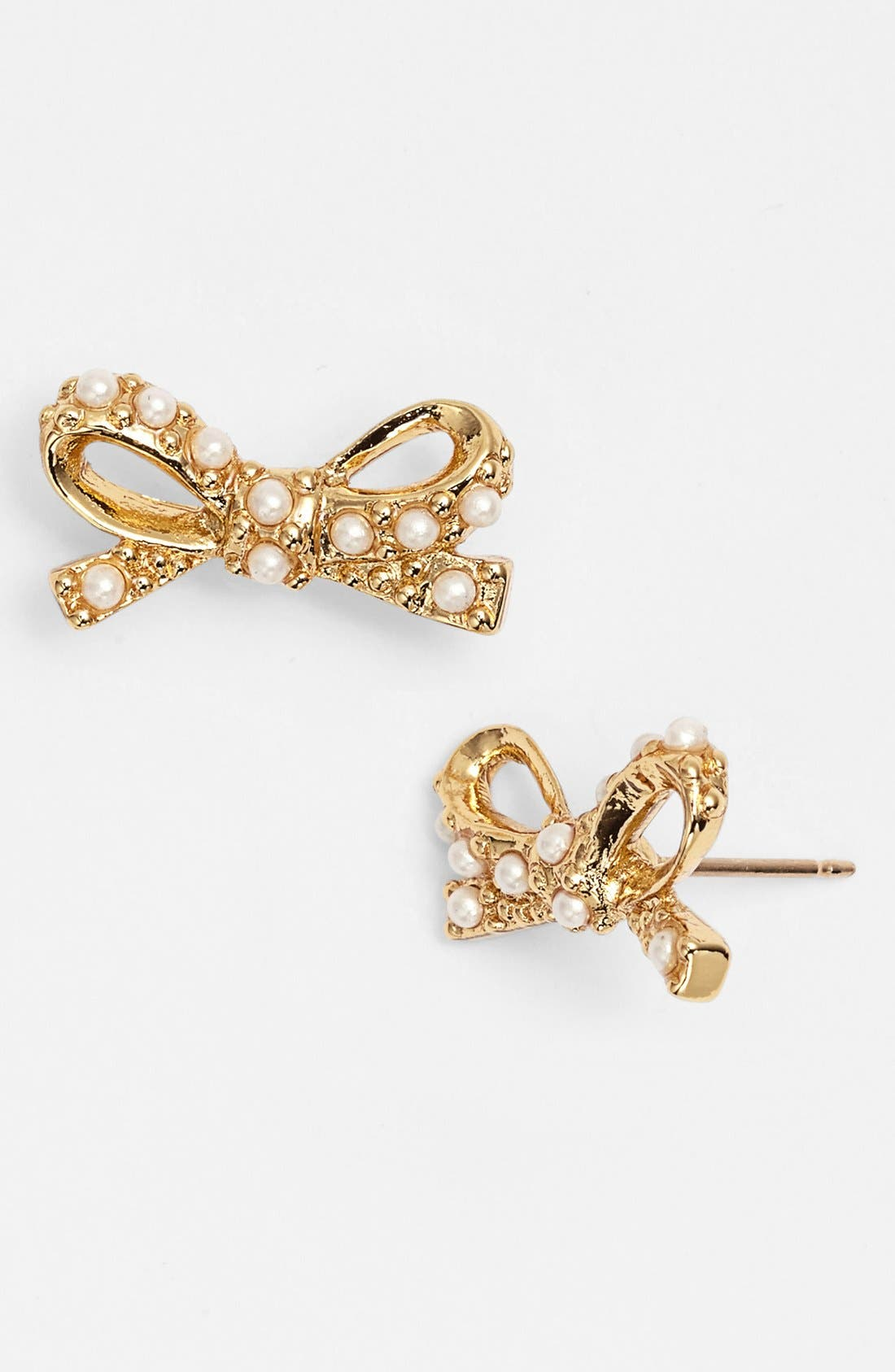 Main Image - kate spade new york 'skinny mini' faux pearl bow stud earrings