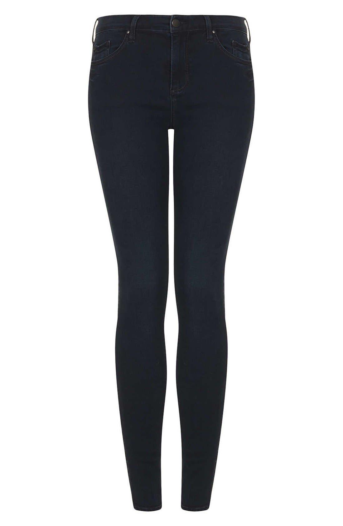 Alternate Image 3  - Topshop Moto 'Leigh' Skinny Jeans (Indigo) (Regular & Short)