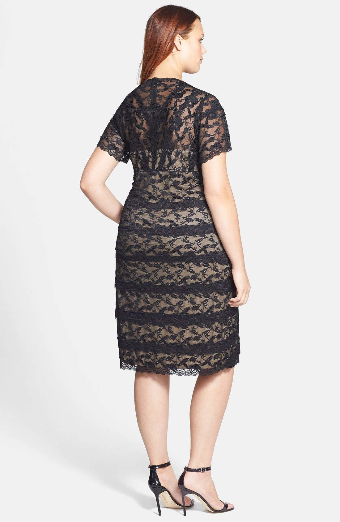 Alternate Image 2  - Marina Beaded Lace Dress (Plus Size)