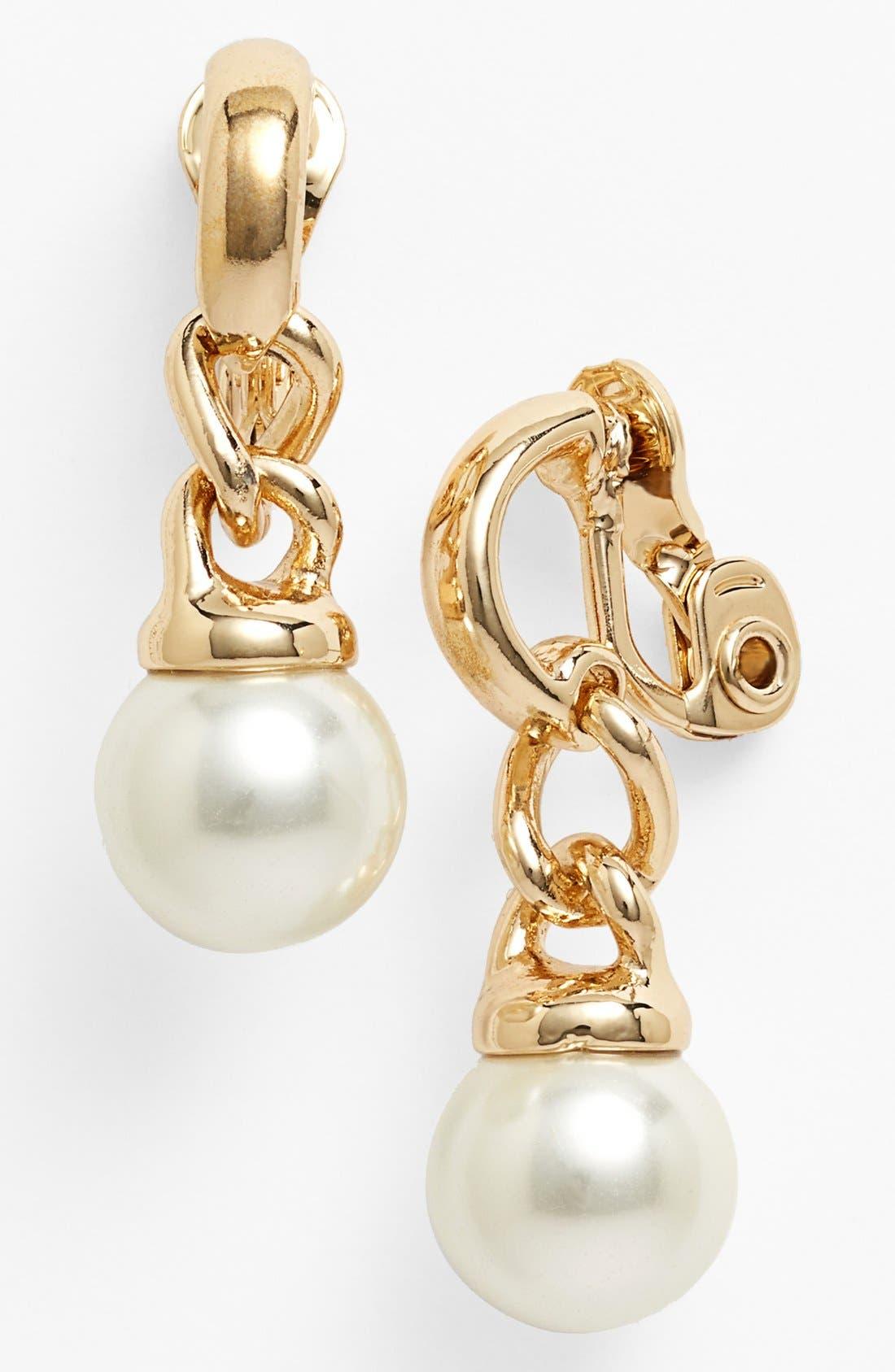 Main Image - Anne Klein Faux Pearl Drop Clip Earrings