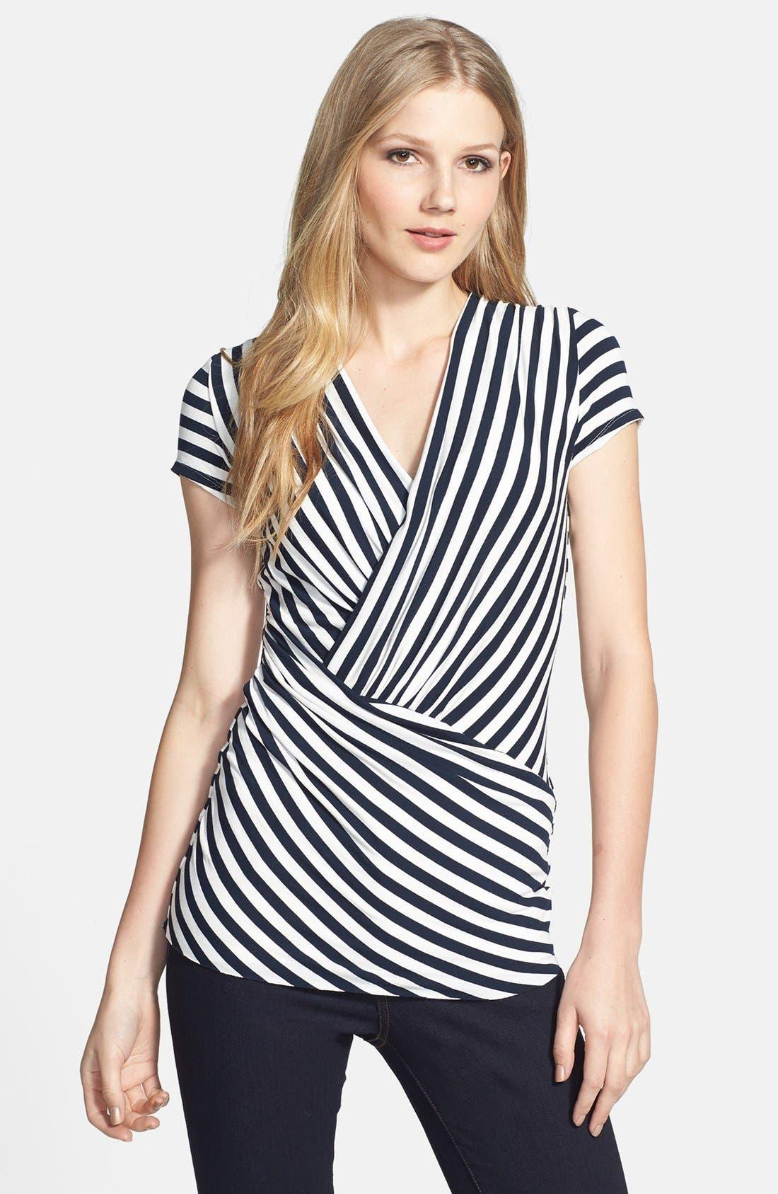 Alternate Image 1 Selected - Vince Camuto 'Marina Stripe' Asymmetrical Top (Regular & Petite)