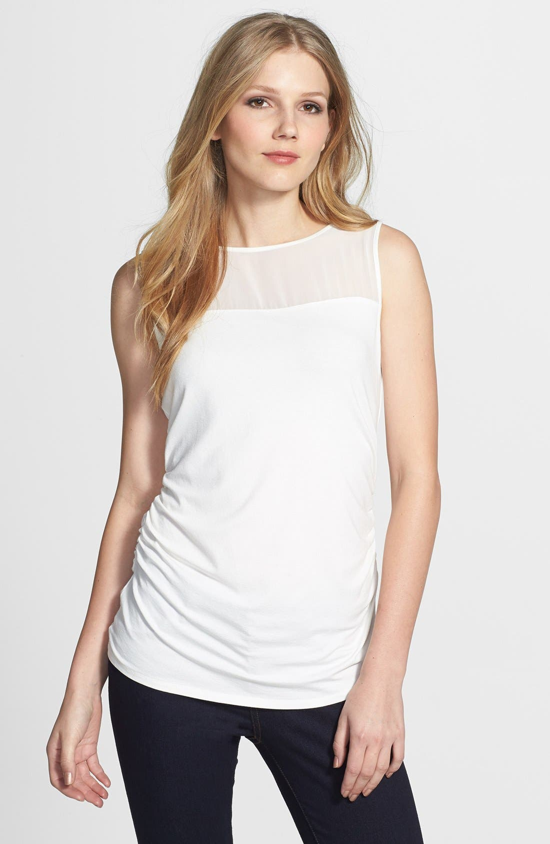 Alternate Image 1 Selected - Vince Camuto Mixed Media Sleeveless Top