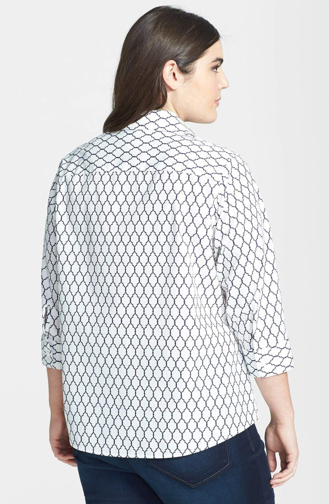 Alternate Image 2  - Foxcroft Lattice Print Shaped Shirt (Plus Size)