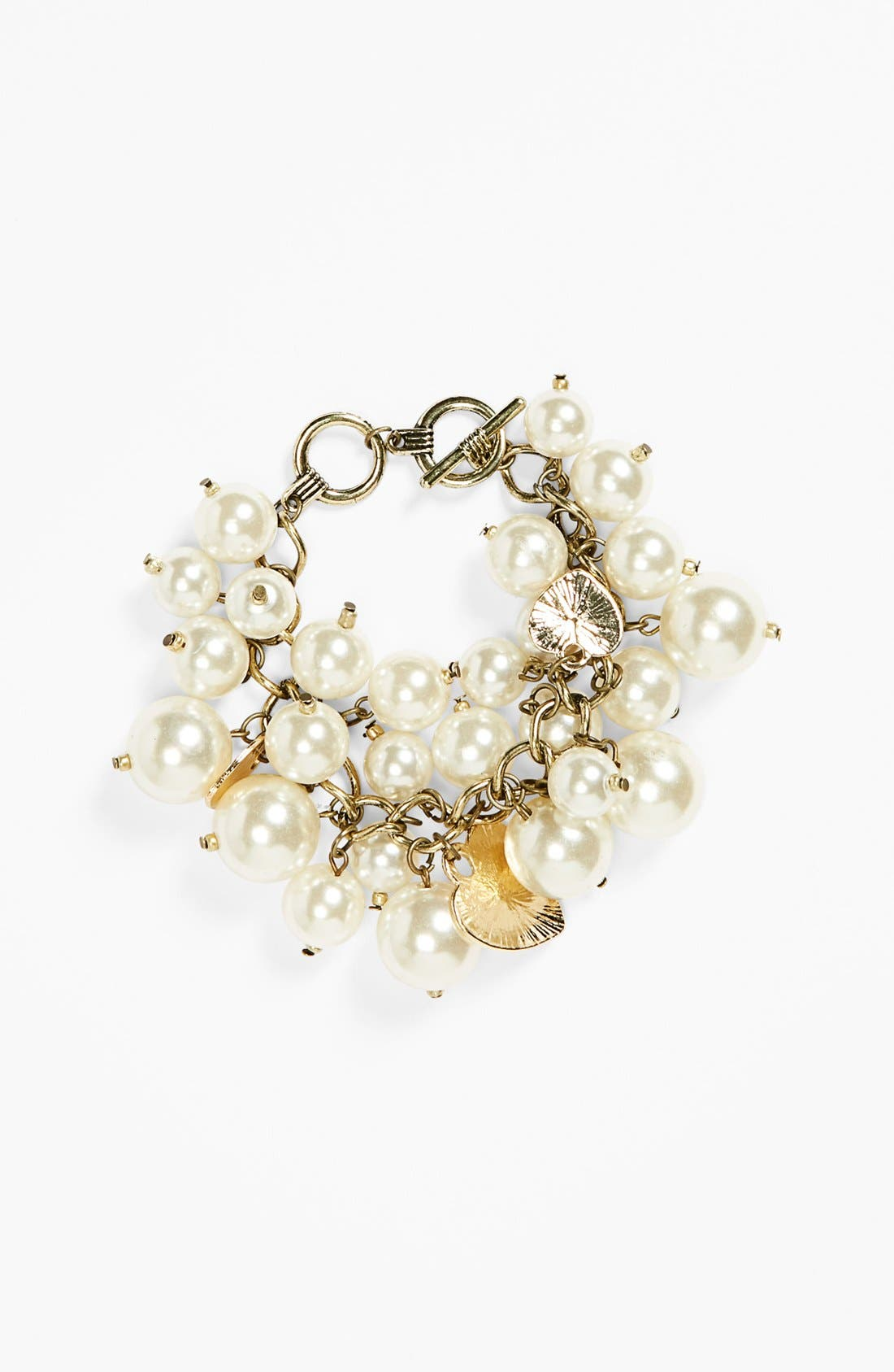 Alternate Image 1 Selected - Tildon Faux Pearl Cluster Charm Bracelet