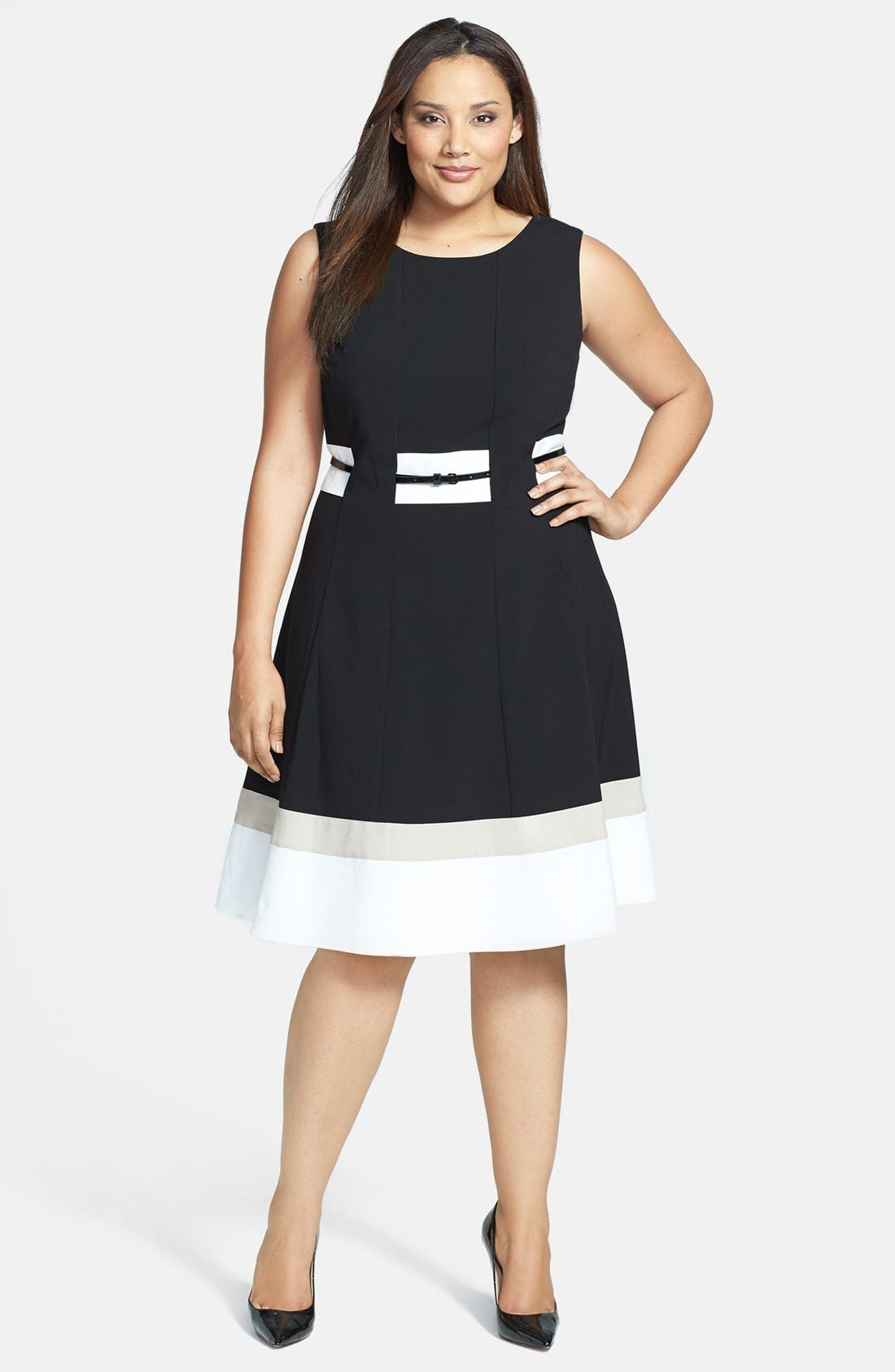 Alternate Image 1 Selected - Calvin Klein Belted Fit and Flare Dress (Plus Size)