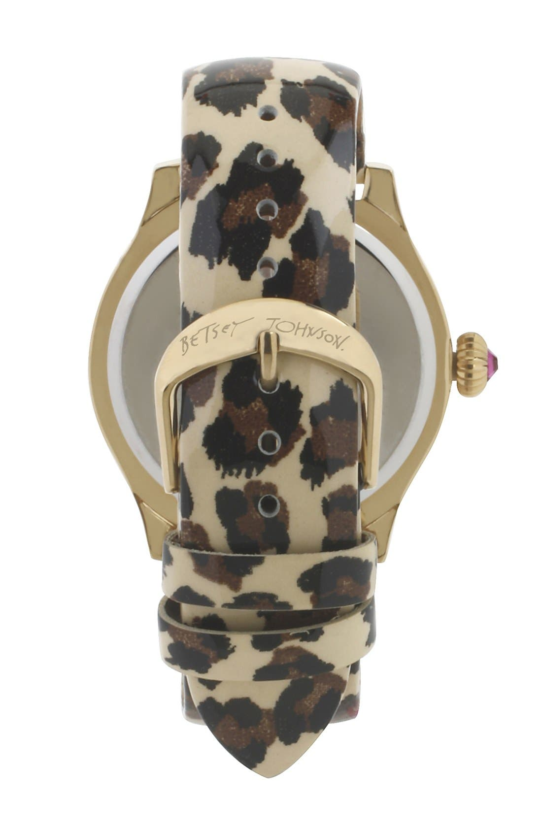 Alternate Image 2  - Betsey Johnson Skull Dial Leather Strap Watch, 40mm
