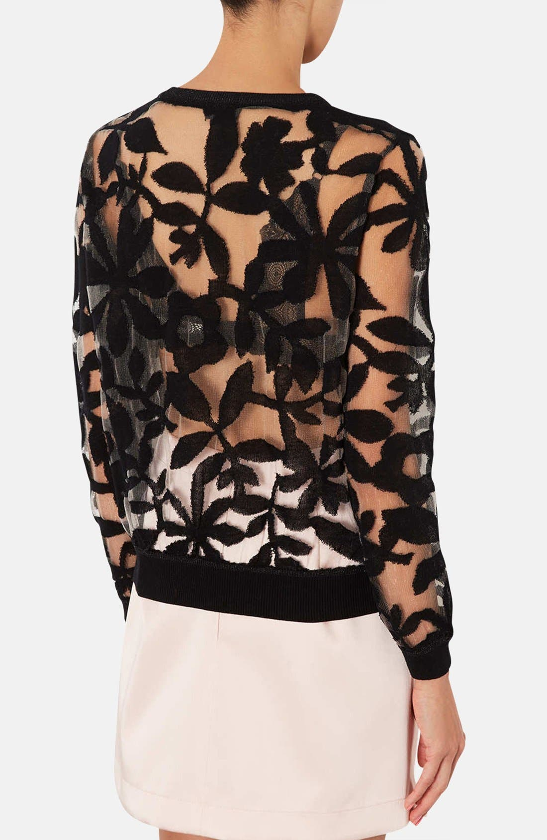 Alternate Image 2  - Topshop Floral Mesh Sweater