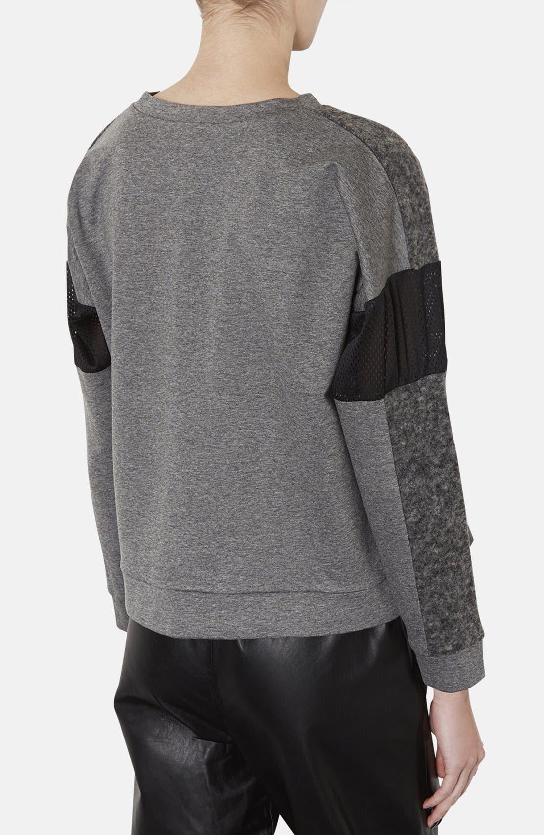 Alternate Image 2  - Topshop Perforated Mixed Media Sweatshirt