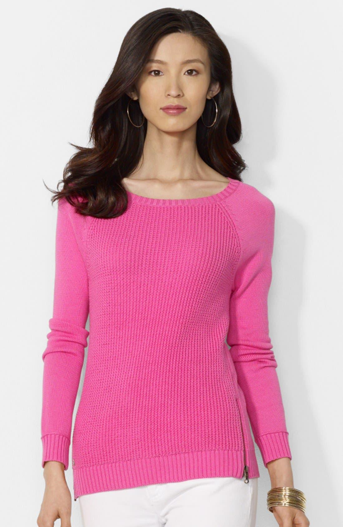 Alternate Image 1 Selected - Lauren Ralph Lauren Zip Detail Raglan Sleeve Sweater