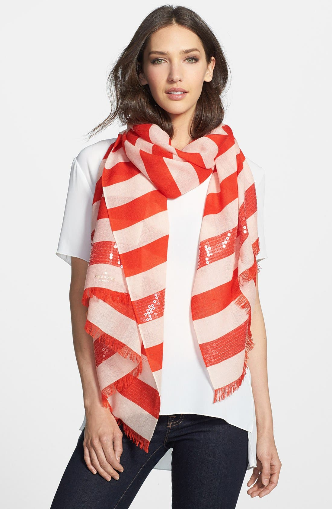Alternate Image 1 Selected - kate spade new york sequin embellished stripe scarf